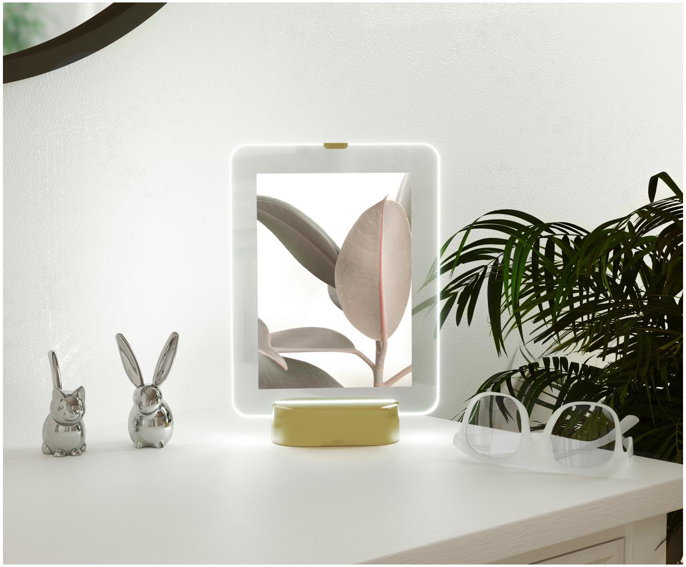 Ramka na zdjęcia LED Glo, Odcienie mosiądzu, 13 x 18 cm