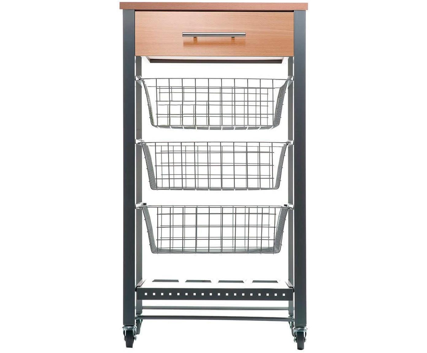 Carrito Diana, Estructura: acero lacado, Gris metalizado, beige, An 48 x Al 91 cm