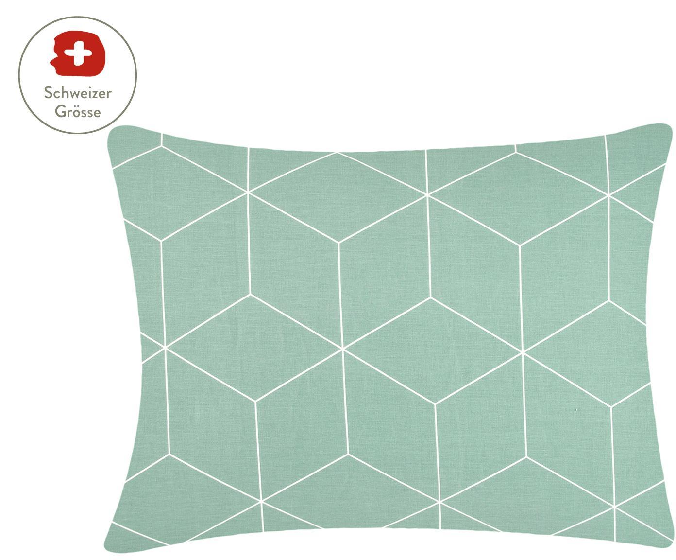 Baumwoll-Kissenbezug Lynn mit grafischem Muster, Webart: Renforcé Fadendichte 144 , Mint, Cremeweiss, 50 x 70 cm