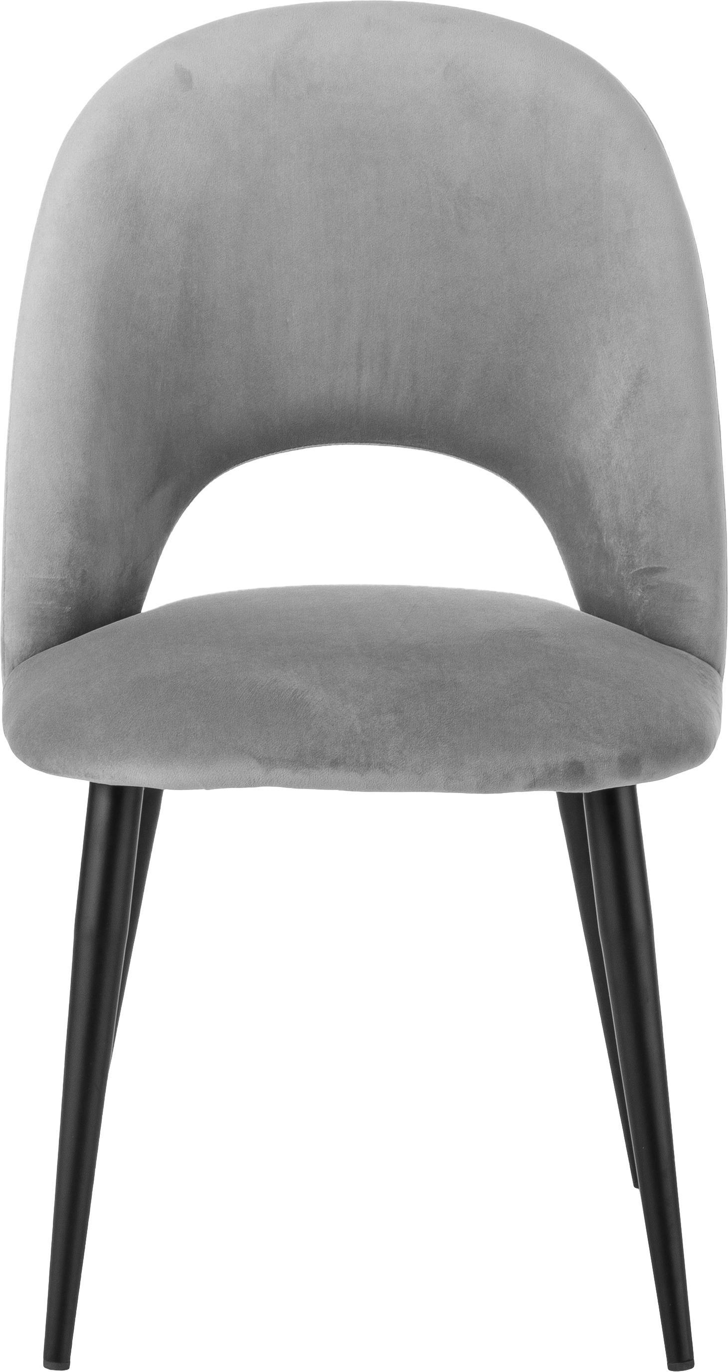Sedia imbottita in velluto Rachel, Rivestimento: velluto (rivestimento in , Gambe: metallo verniciato a polv, Grigio chiaro, Larg. 53 x Prof. 57 cm