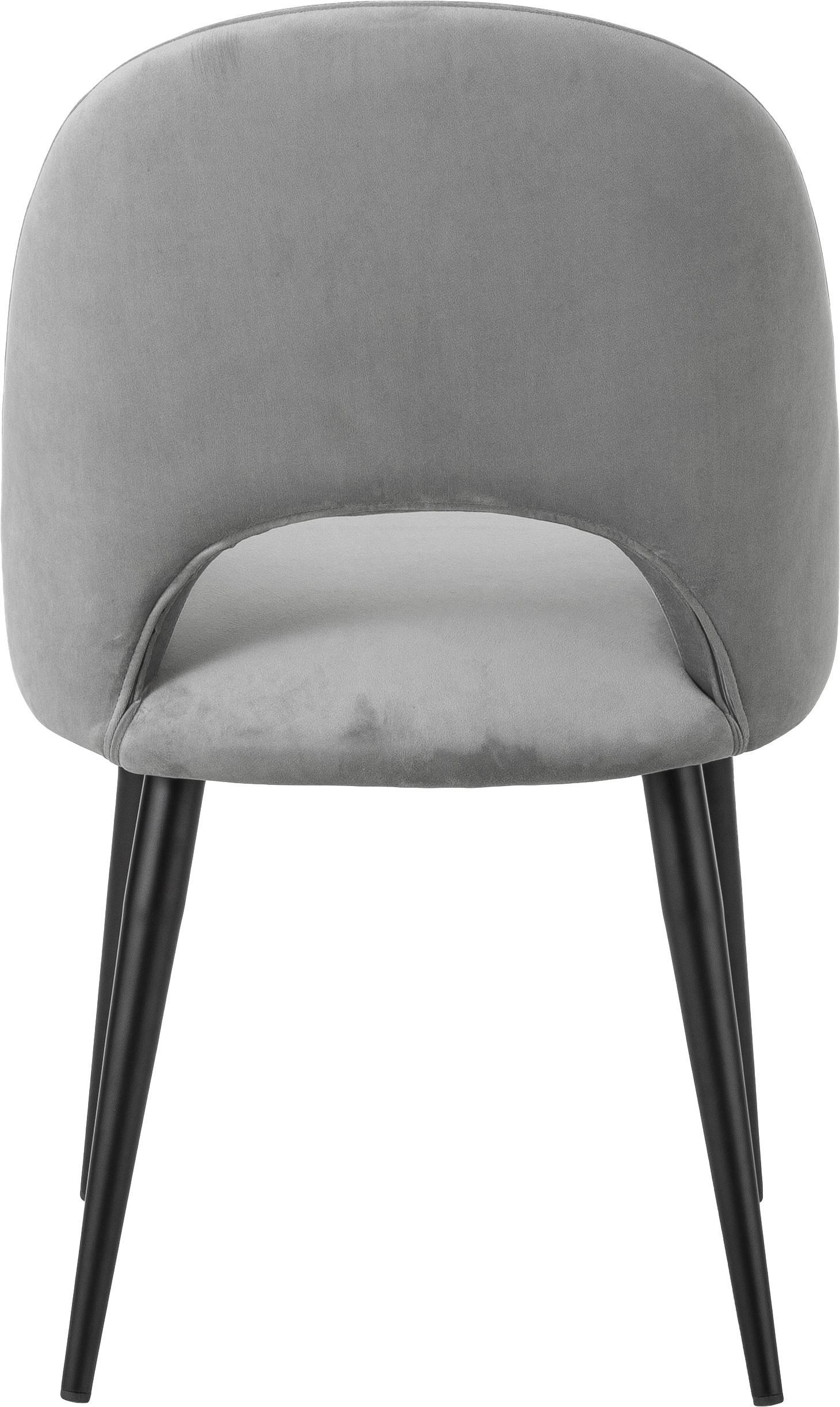 Silla de terciopelo Rachel, Tapizado: terciopelo (tapizado de p, Patas: metal con pintura en polv, Terciopelo gris, An 53 x F 57 cm