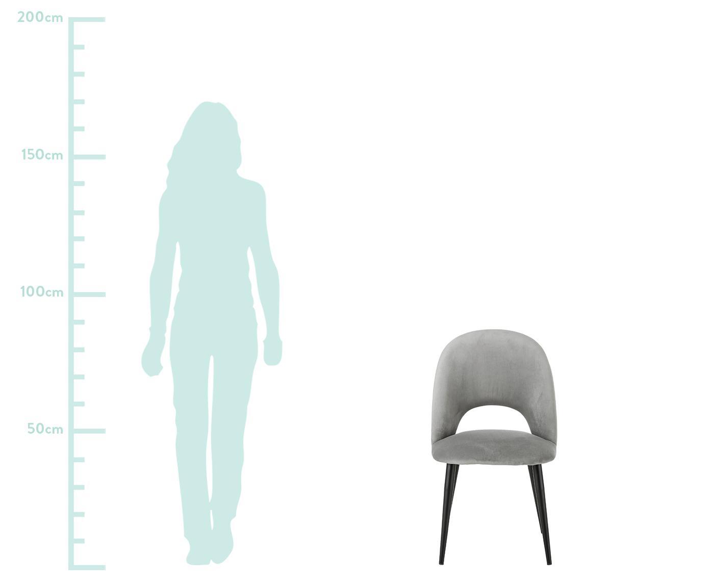 Samt-Polsterstuhl Rachel, Bezug: Samt (Hochwertiger Polyes, Beine: Metall, pulverbeschichtet, Samt Grau, B 53 x T 57 cm