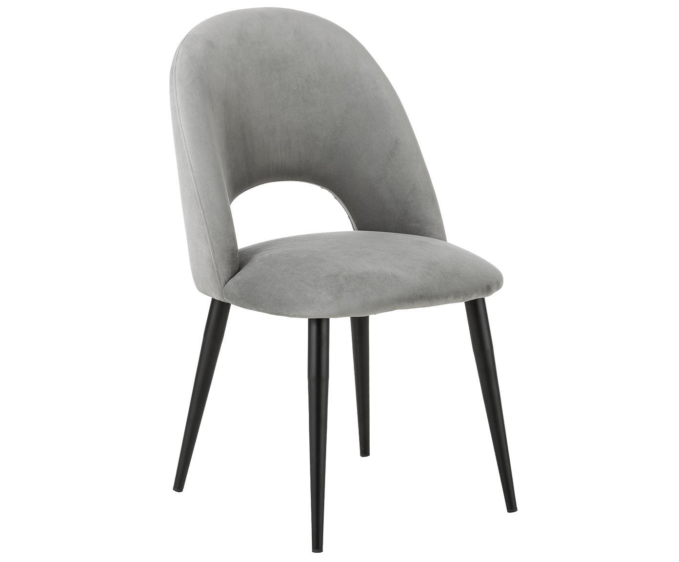 Fluwelen stoel Rachel, Bekleding: fluweel (hoogwaardige pol, Poten: gepoedercoat metaal, Lichtgrijs, B 53 x D 57 cm