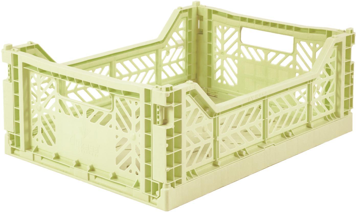 Caja pegable apilable Melon, mediana, Plástico reciclado, Verde melón, An 40 x Al 14 cm