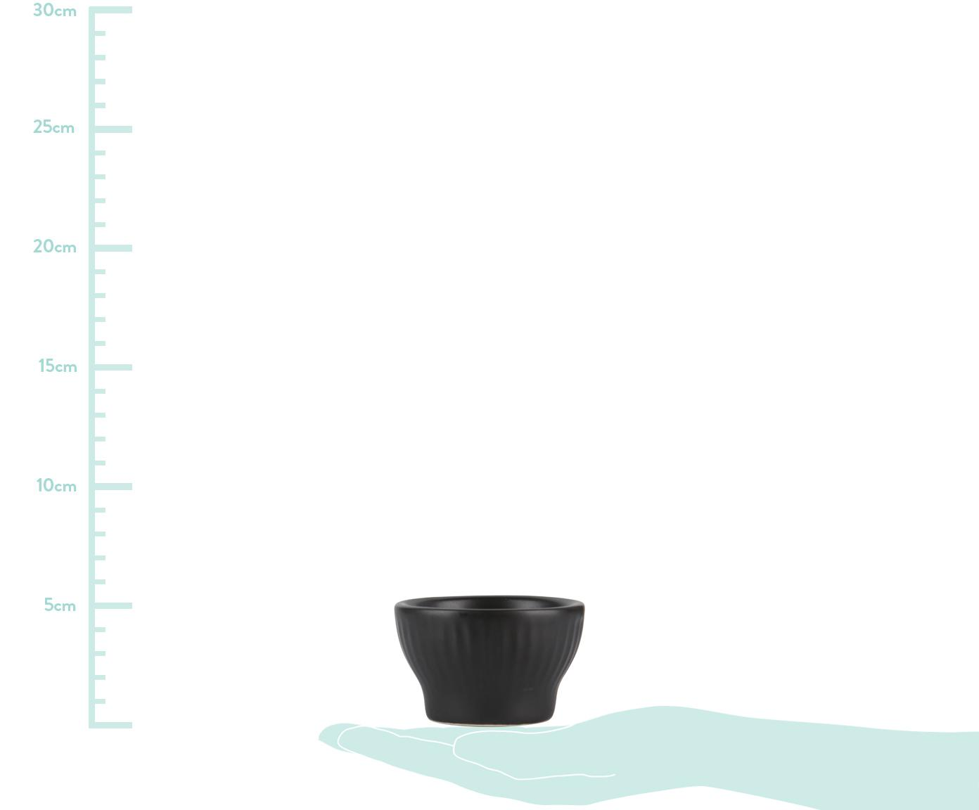 Schwarze Eierbecher Groove mit Rillenstruktur, 4 Stück, Steingut, Schwarz, Ø 6 x H 4 cm