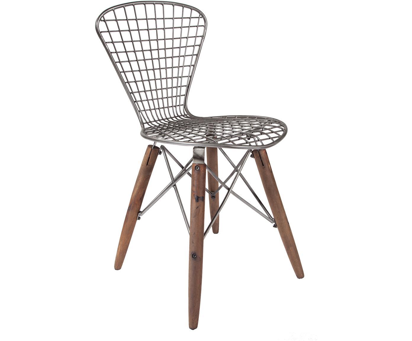 Silla Pato, Patas: madera reciclada, Marrón, plateado efecto vintage, An 40 x Al 79 cm
