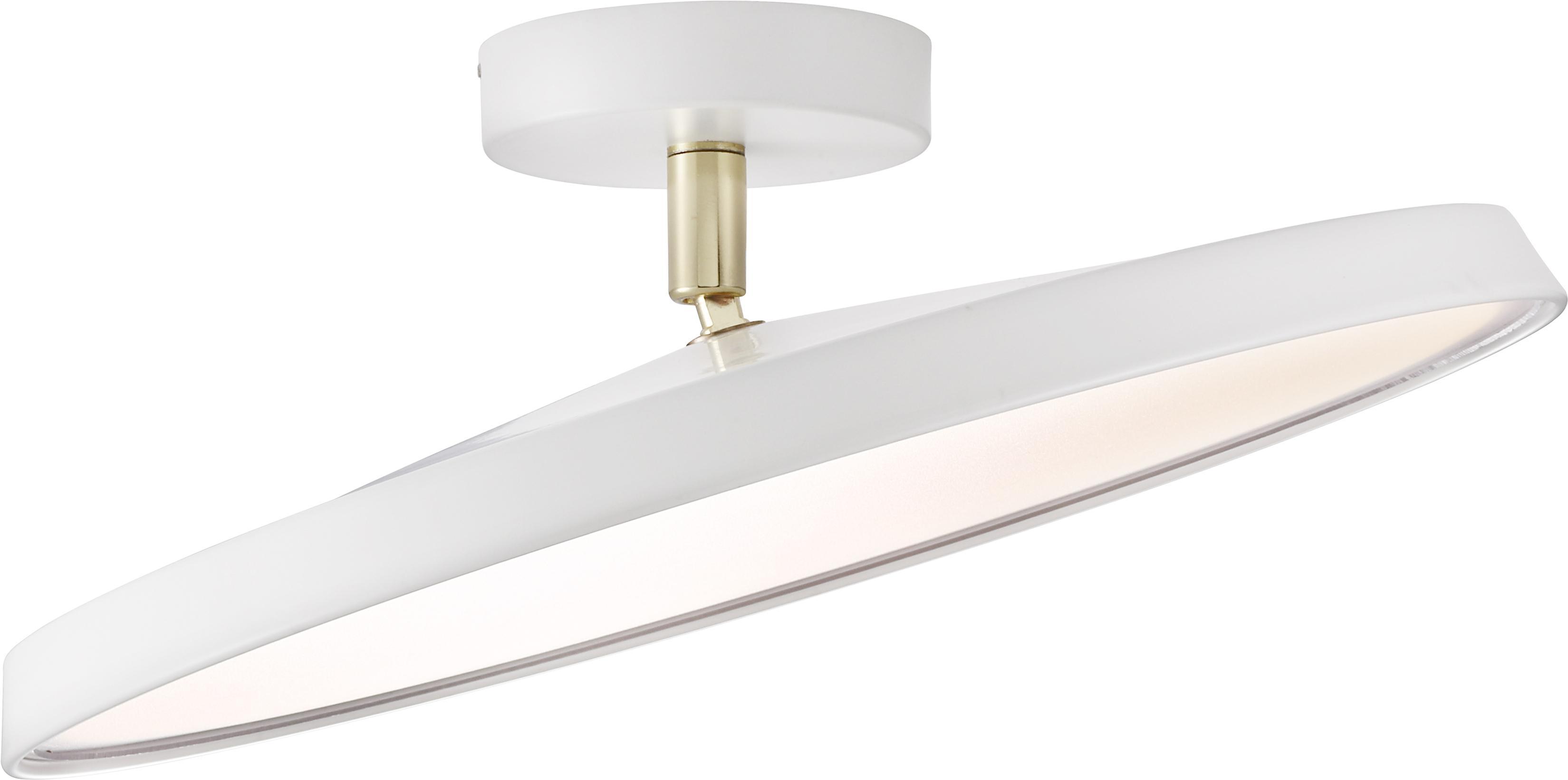 LED plafondlamp Alba in wit, Lampenkap: aluminium, Diffuser: acrylglas, Wit, Ø 40 x H 12 cm