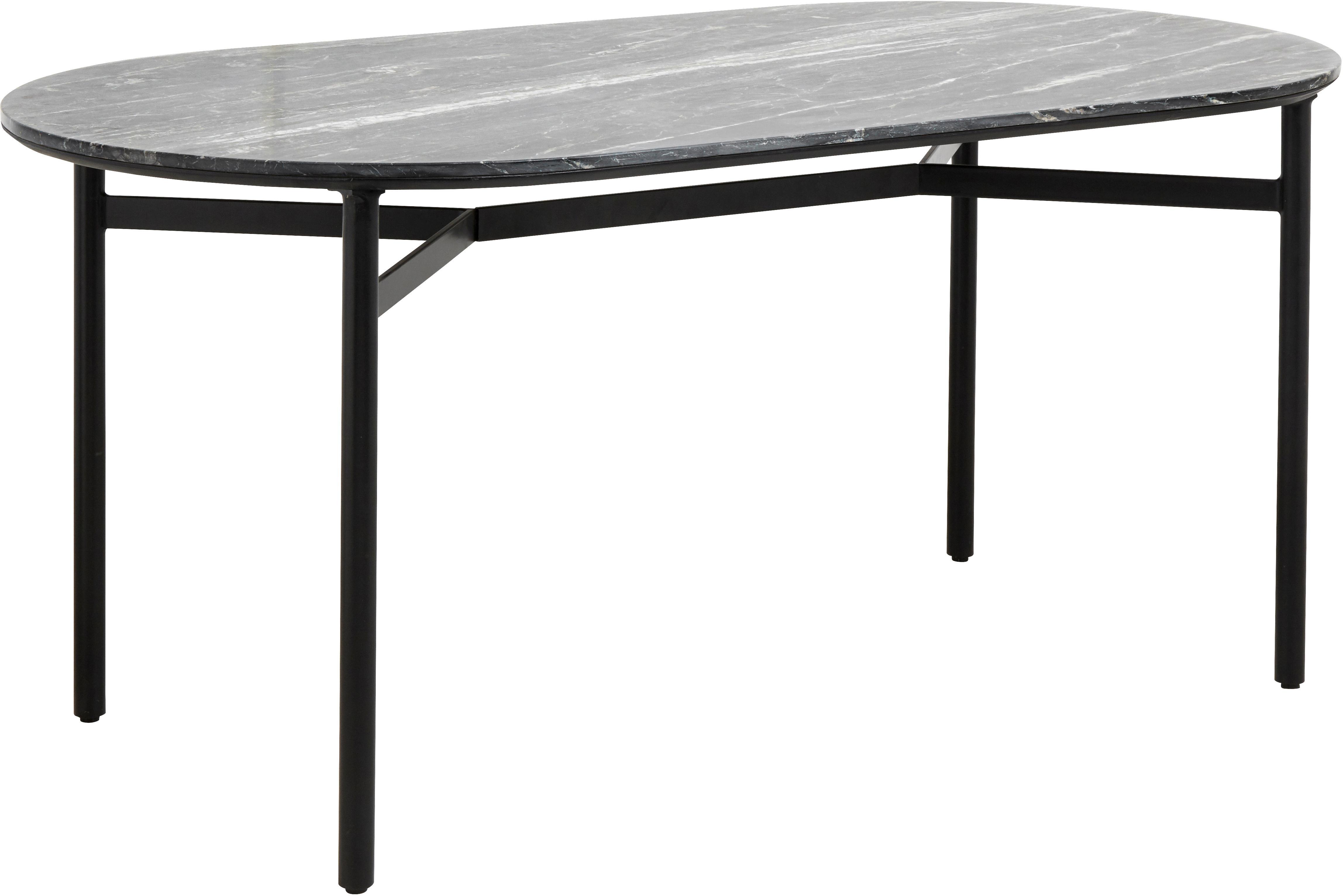 Tavolo ovale con piano in marmo Taupo, Piano d'appoggio: marmo, pannello di fibra , Gambe: metallo verniciato a polv, Oro, Larg. 175 x Prof. 90 cm