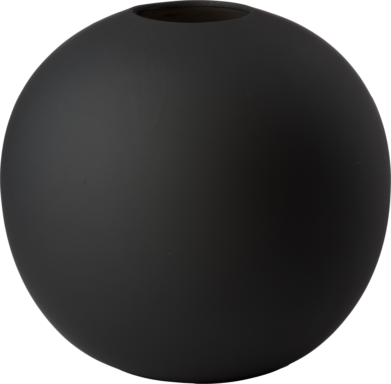 Handgefertigte Kugel-Vase Ball, Keramik, Schwarz, Ø 20 x H 20 cm