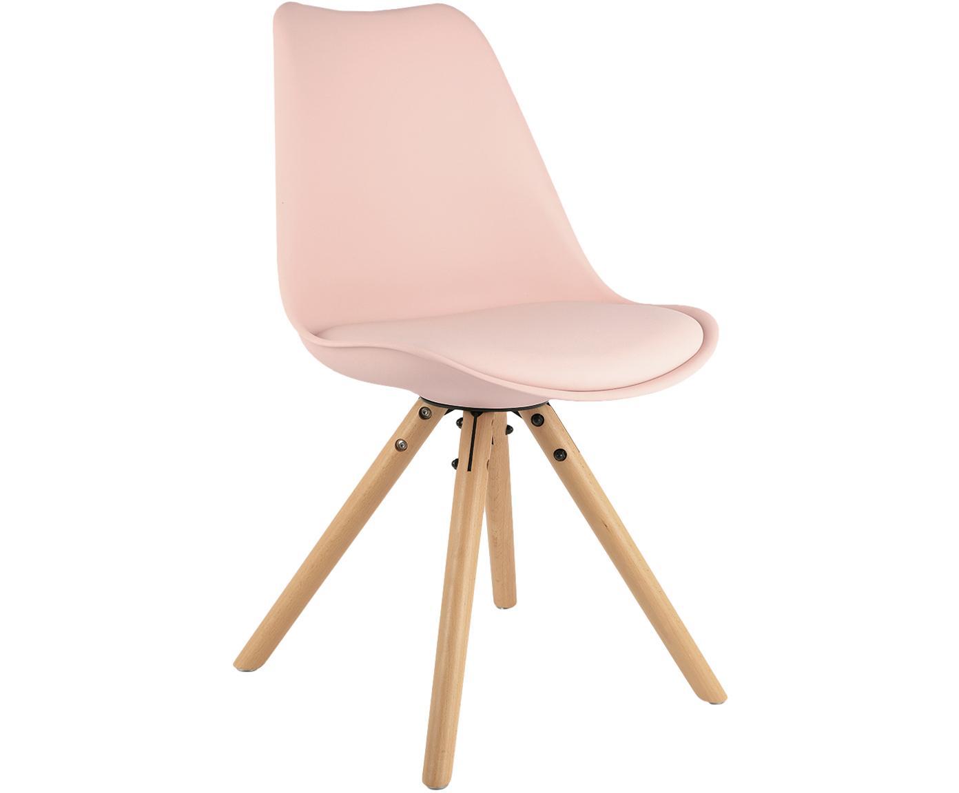 Sillas con asiento de cuero sintético Max, 2uds., Asiento: cuero sintético (poliuret, Asiento: plástico, Patas: madera de haya, Rosa, An 46 x F 54 cm