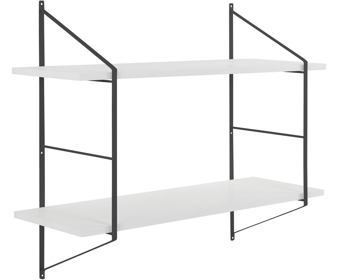 Mała półka ścienna z drewna i metalu Belfast, Stelaż: metal malowany proszkowo, Biały, czarny, S 76 x W 63 cm