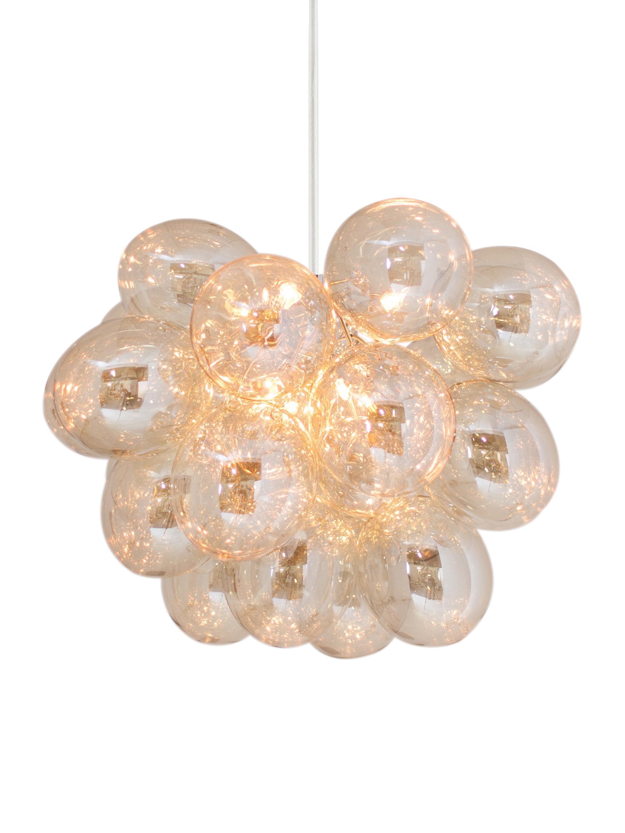 Hanglamp met glazen bollen Gross Grande, Amberkleurig, Ø 62 x H 50 cm