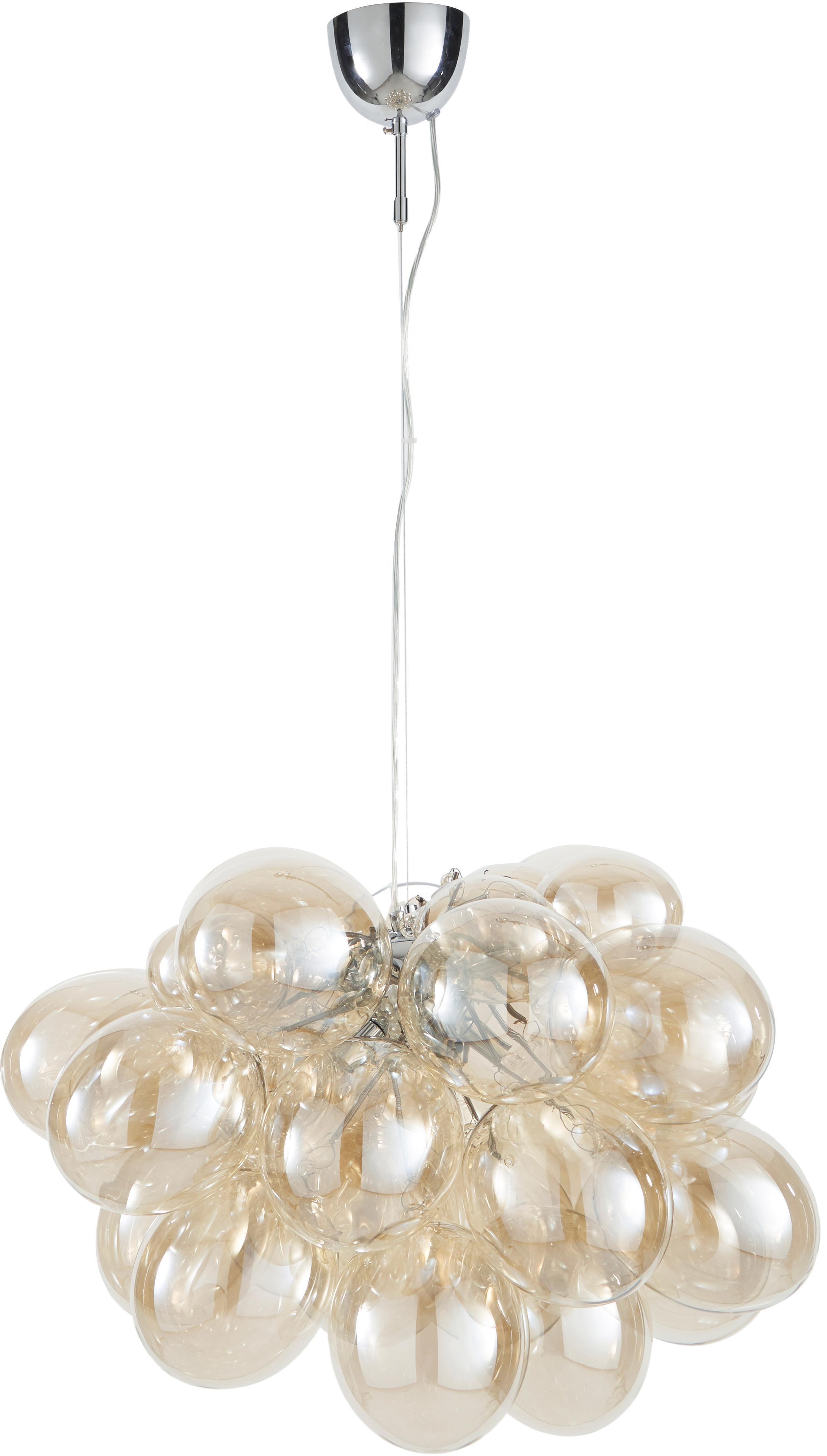 Lampada a sospensione con sfere di vetro Gross Grande, Ambra, Ø 62 x Alt. 50 cm