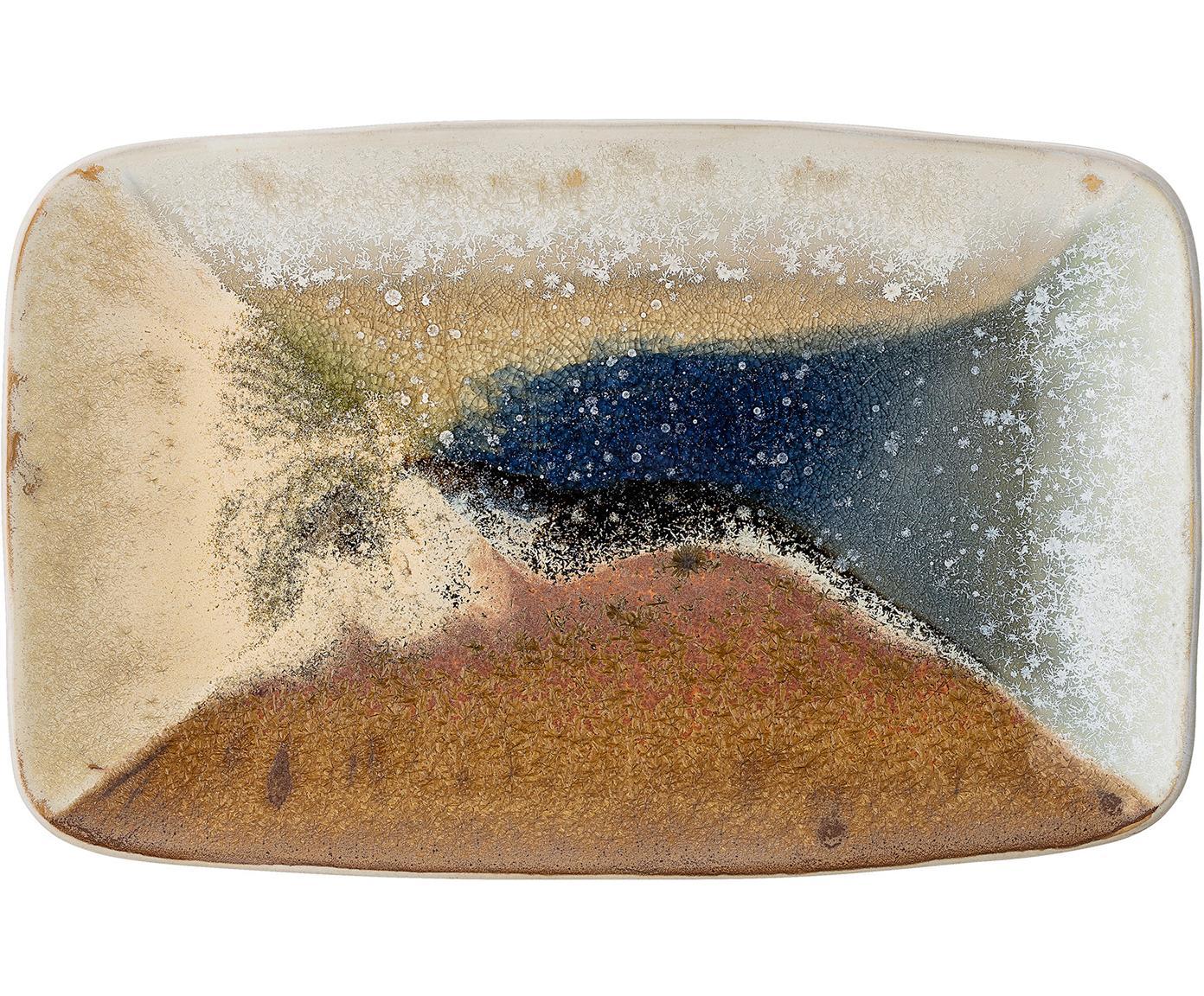 Handgemachte Servierplatte Willow, Steingut, Mehrfarbig, B 34 x T 21 cm