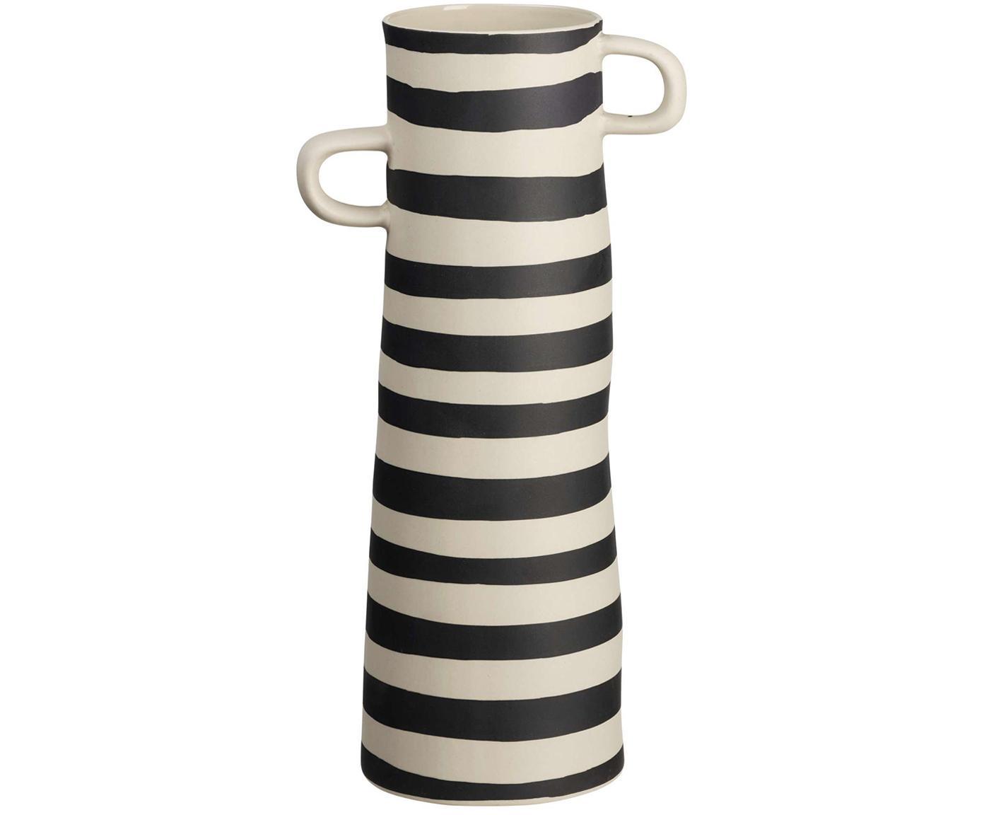 Handgefertigte Vase Rayu aus Steingut, Steingut, Schwarz, Beige, Ø 10 x H 28 cm