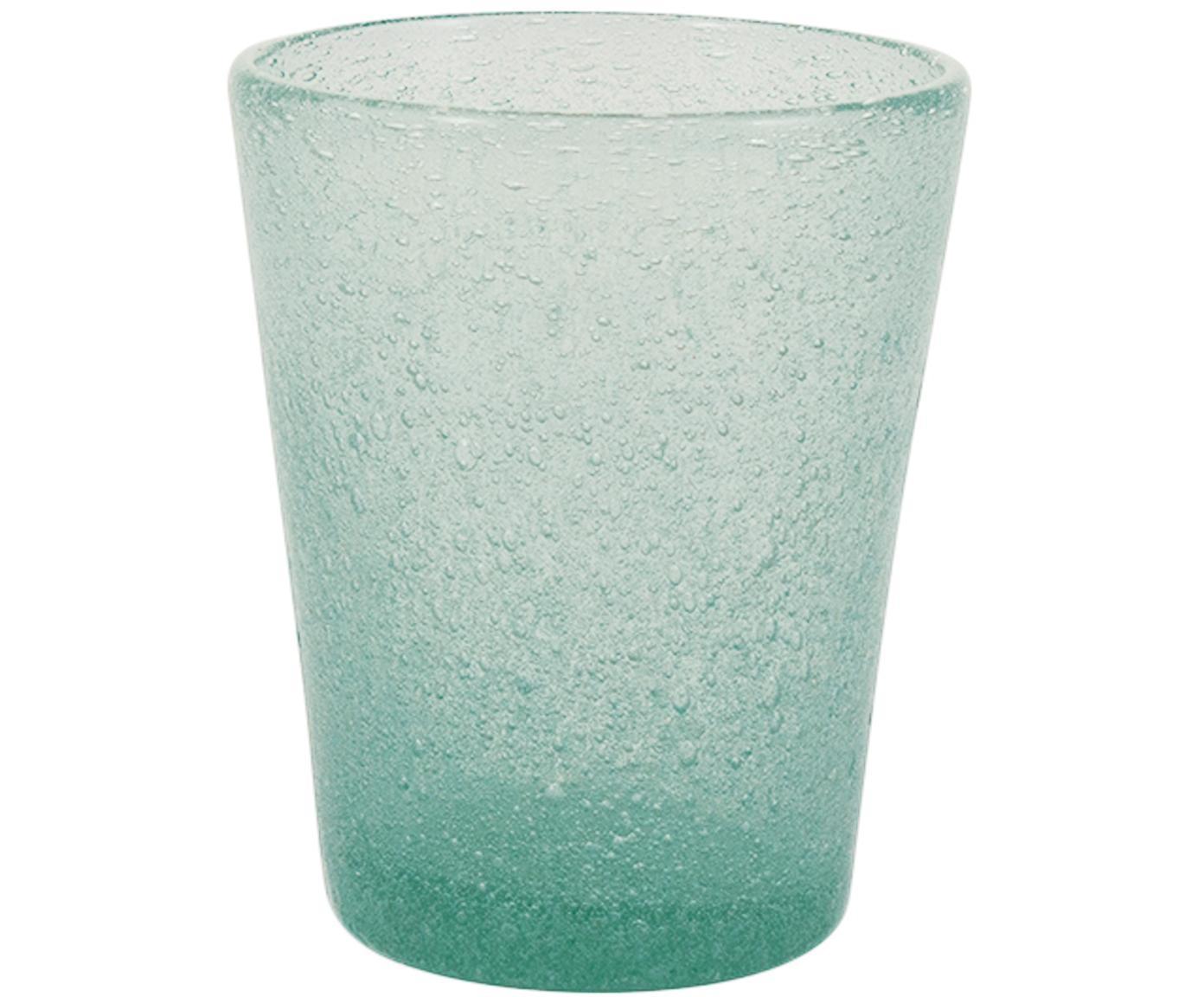 Vasos de vidrio soplado Cancun, 6uds., Vidrio soplado artesanalmente, Verde, Ø 9 x Al 10 cm