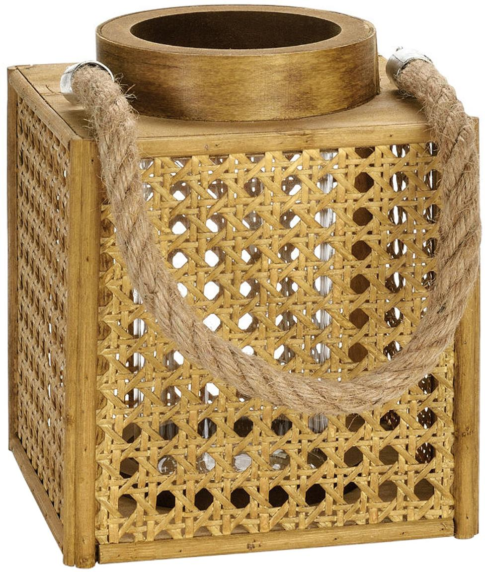 Lanterna Ripoll, Cornice: pannelli di fibra a media, Marrone, Larg. 15 x Alt. 19 cm