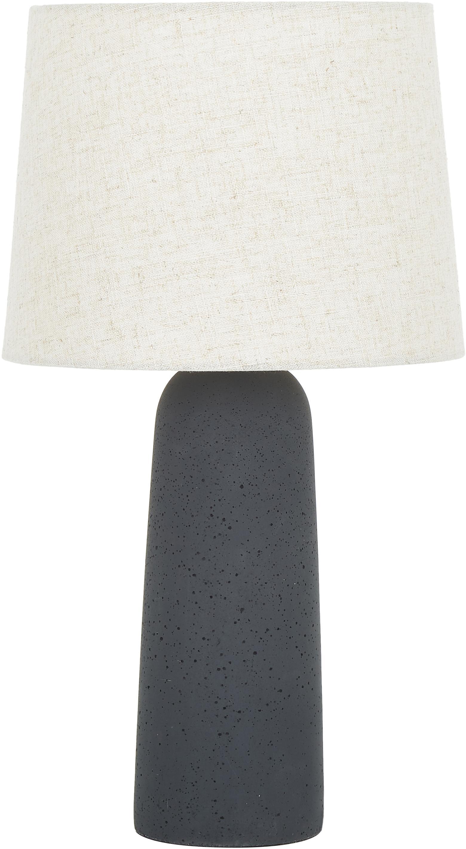 Lámpara de mesa grande Kaya, Pantalla: 80%algodón, 20%lino, Cable: cubierto en tela, Beige, gris oscuro, Ø 29 x Al 52 cm
