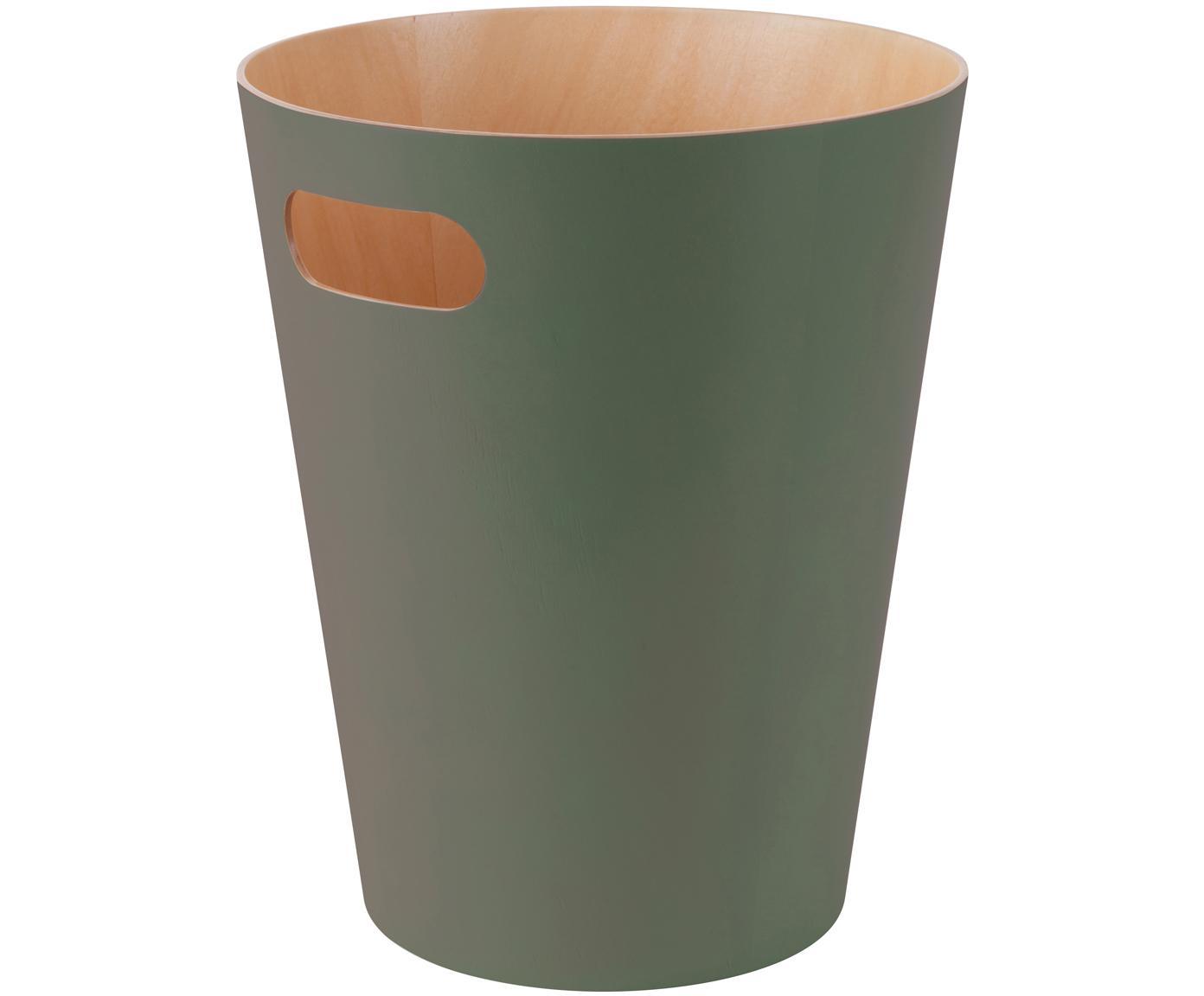 Papiermand Woodrow Can, Gelakt hout, Olijfgroen, Ø 23 x H 28 cm
