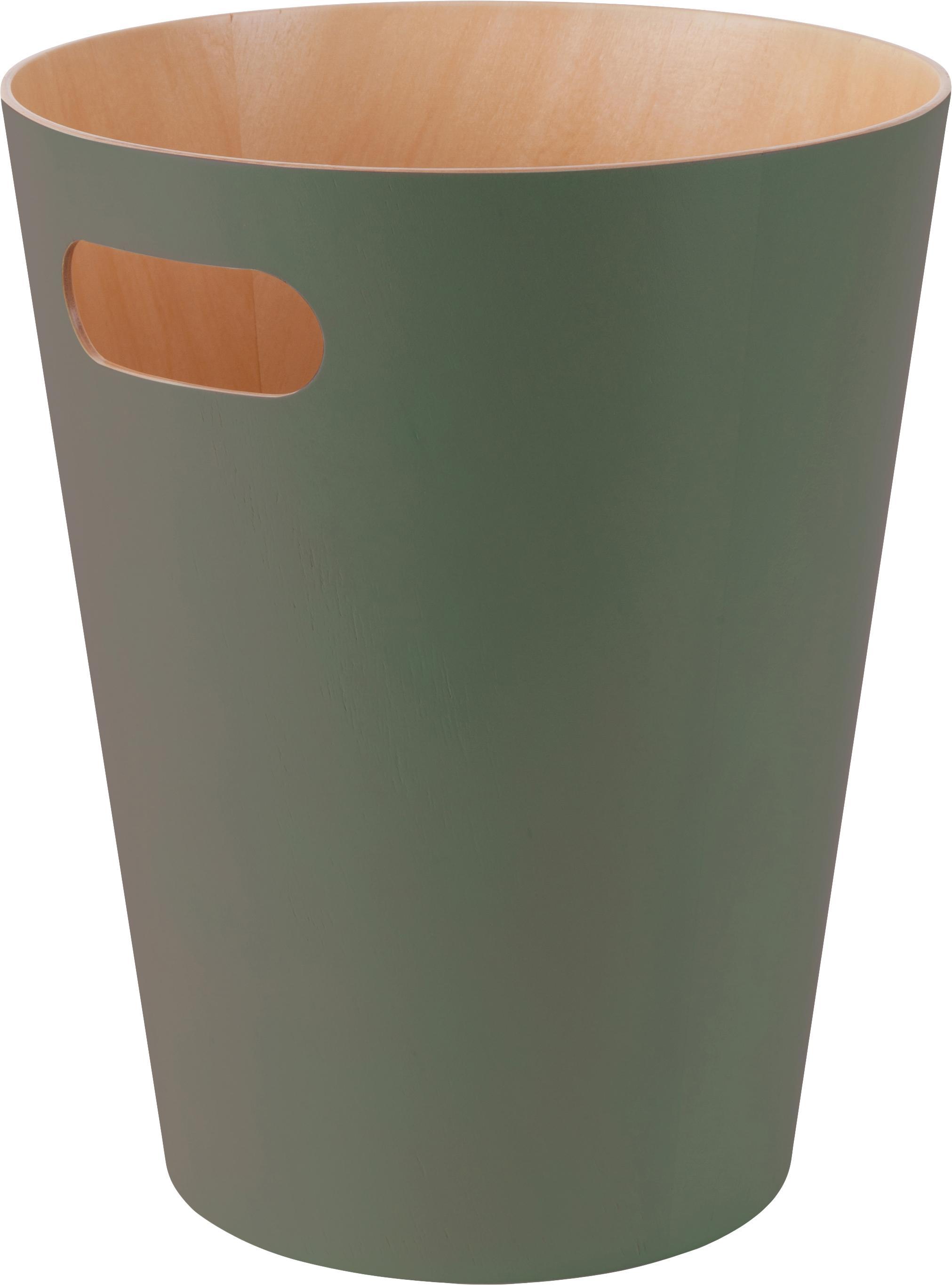 Papelera Woodrow Can, Madera, pintada, Verde oliva, Ø 23 x Al 28 cm