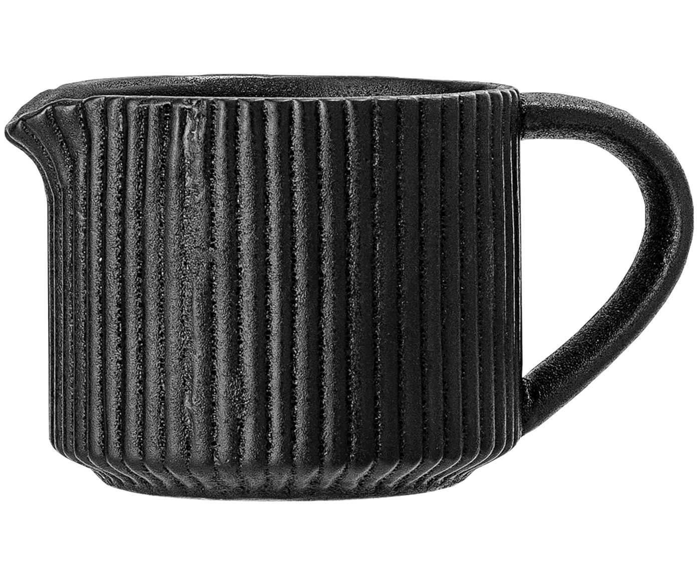 Milchkännchen Neri mit Rillenstruktur in Schwarz matt, Steingut Mit Rillenstruktur und leicht rauer Oberfläche, Schwarz, Ø 8 x H 7 cm