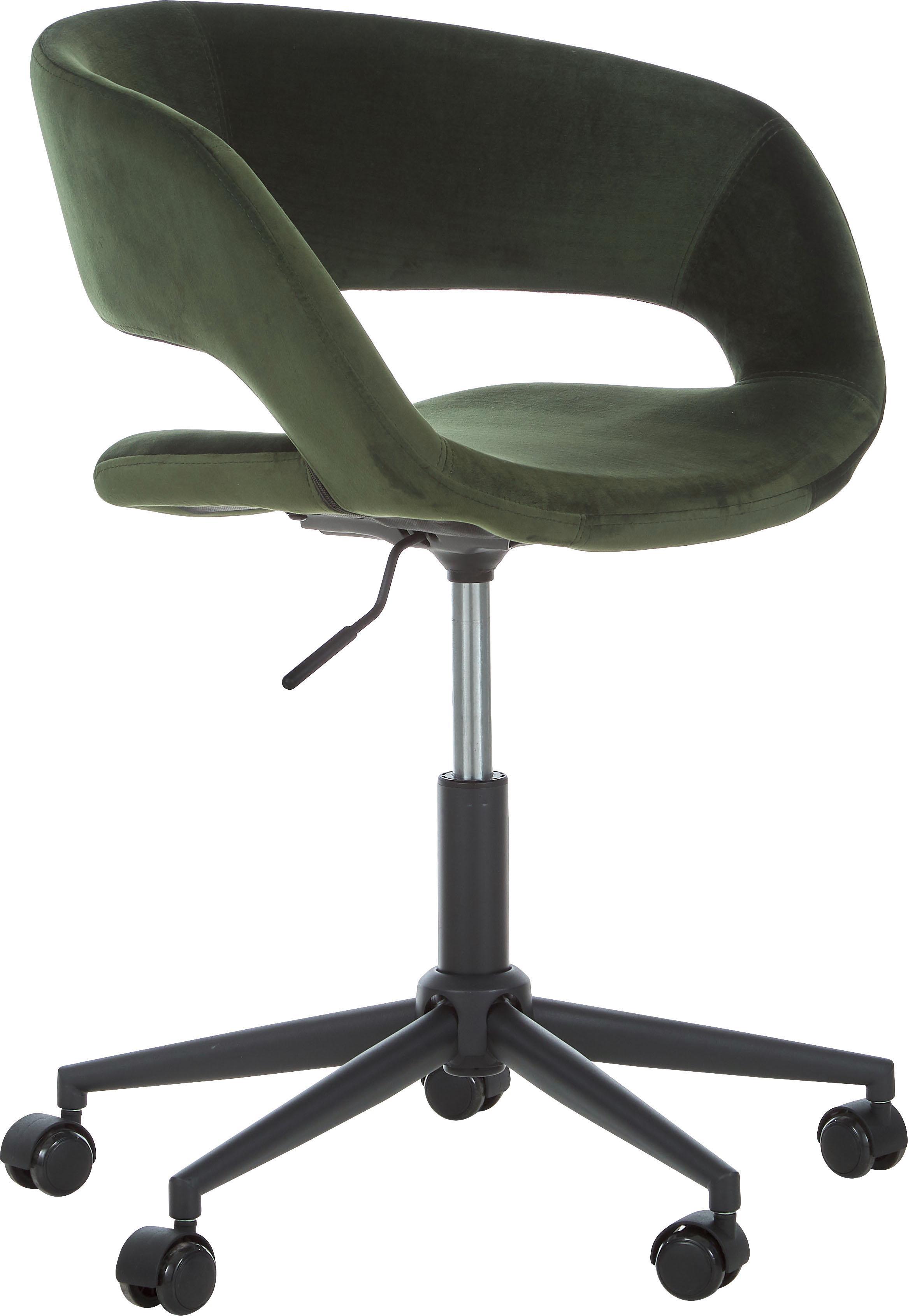 Samt-Bürodrehstuhl Grace, höhenverstellbar, Bezug: Polyestersamt 25.000 Sche, Gestell: Metall, pulverbeschichtet, Samt Waldgrün, B 56 x T 54 cm