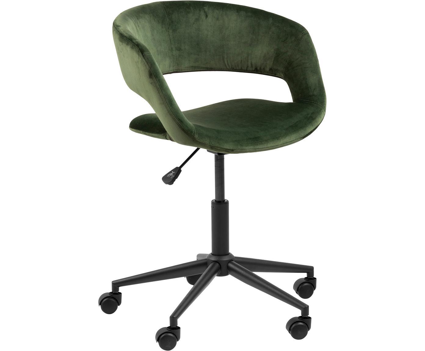 Biurowe krzesło obrotowe z aksamitu Grace, Tapicerka: aksamit poliestrowy 2500, Stelaż: metal malowany proszkowo, Zielony, czarny, S 56 x G 54 cm
