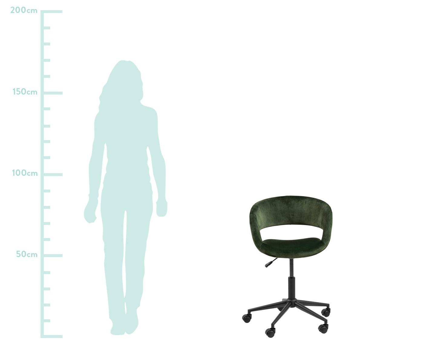 Fluwelen bureaustoel Grace, in hoogte verstelbaar, Bekleding: polyester fluweel, Frame: gepoedercoat metaal, Fluweel bosgroen, 56 x 54 cm