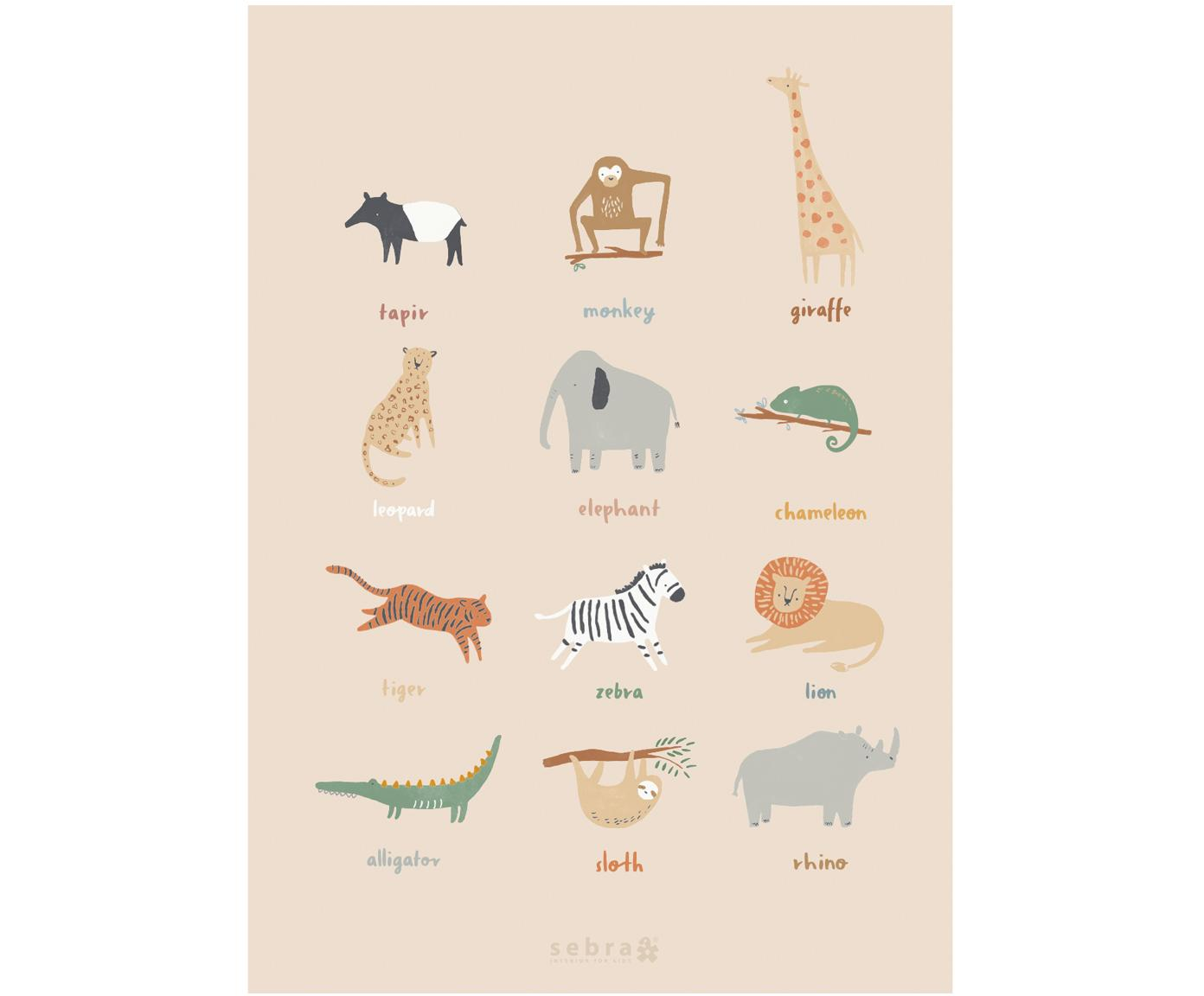Poster Wildlife, Kunstdruckpapier, 250g/m², Mehrfarbig, 50 x 70 cm