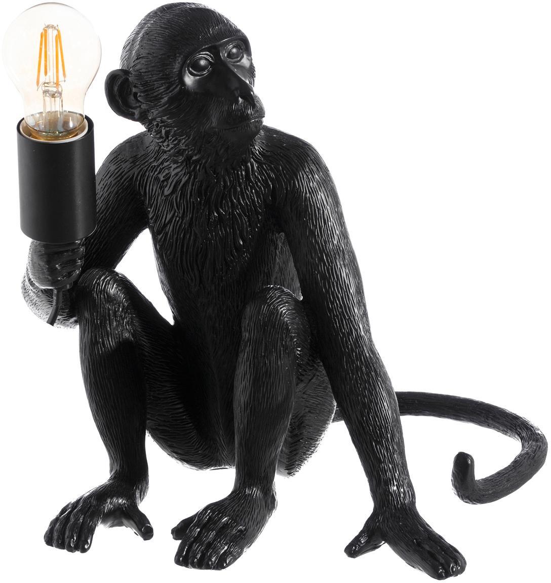 Tafellamp Monkey, Polyresin, Zwart, 31 x 31 cm