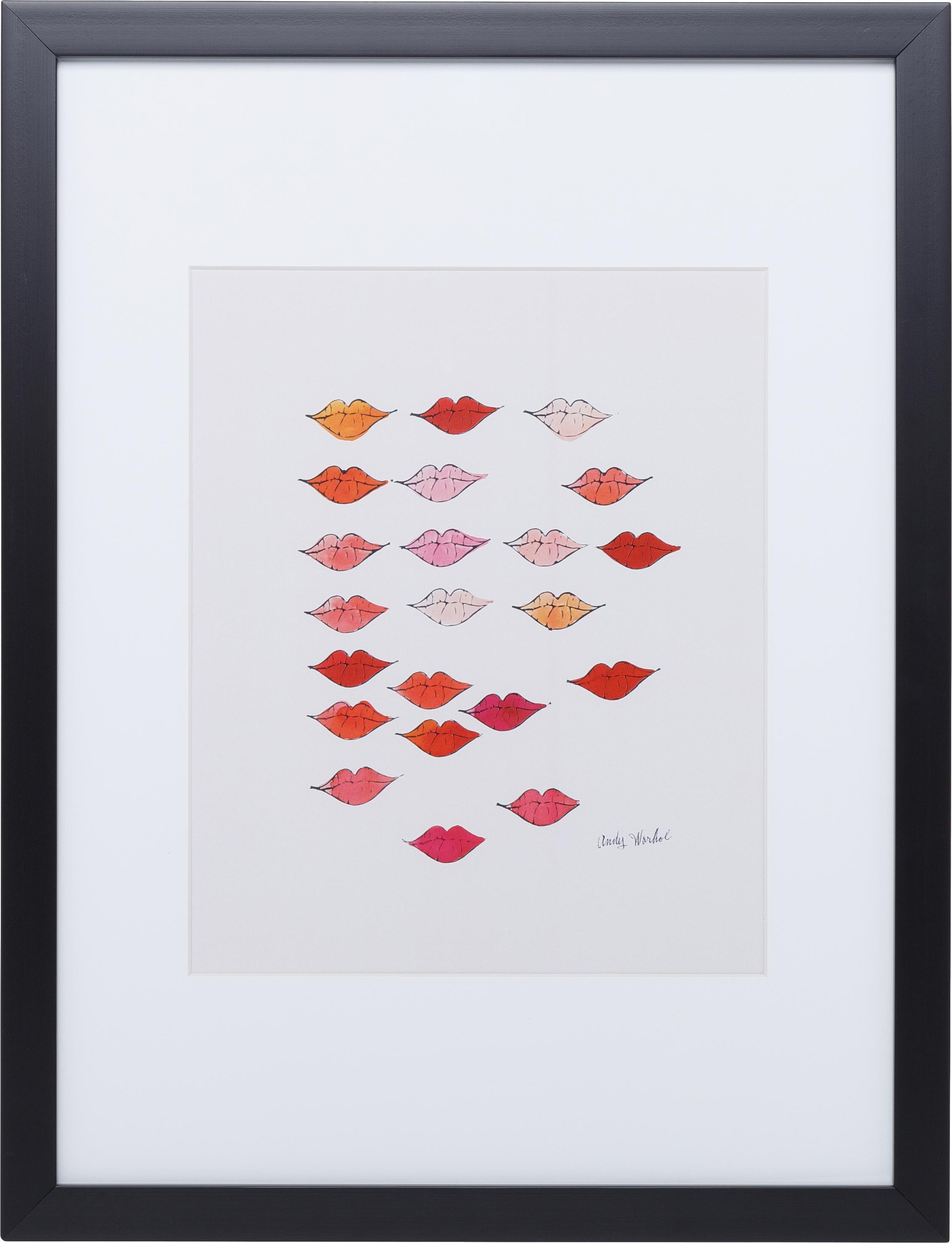 Ingelijste digitale print Kiss ''Andy Warhol Collection'', Afbeelding: digitale print, Frame: kunststof, Afbeelding: multicolour. Lijst: zwart, 30 x 40 cm