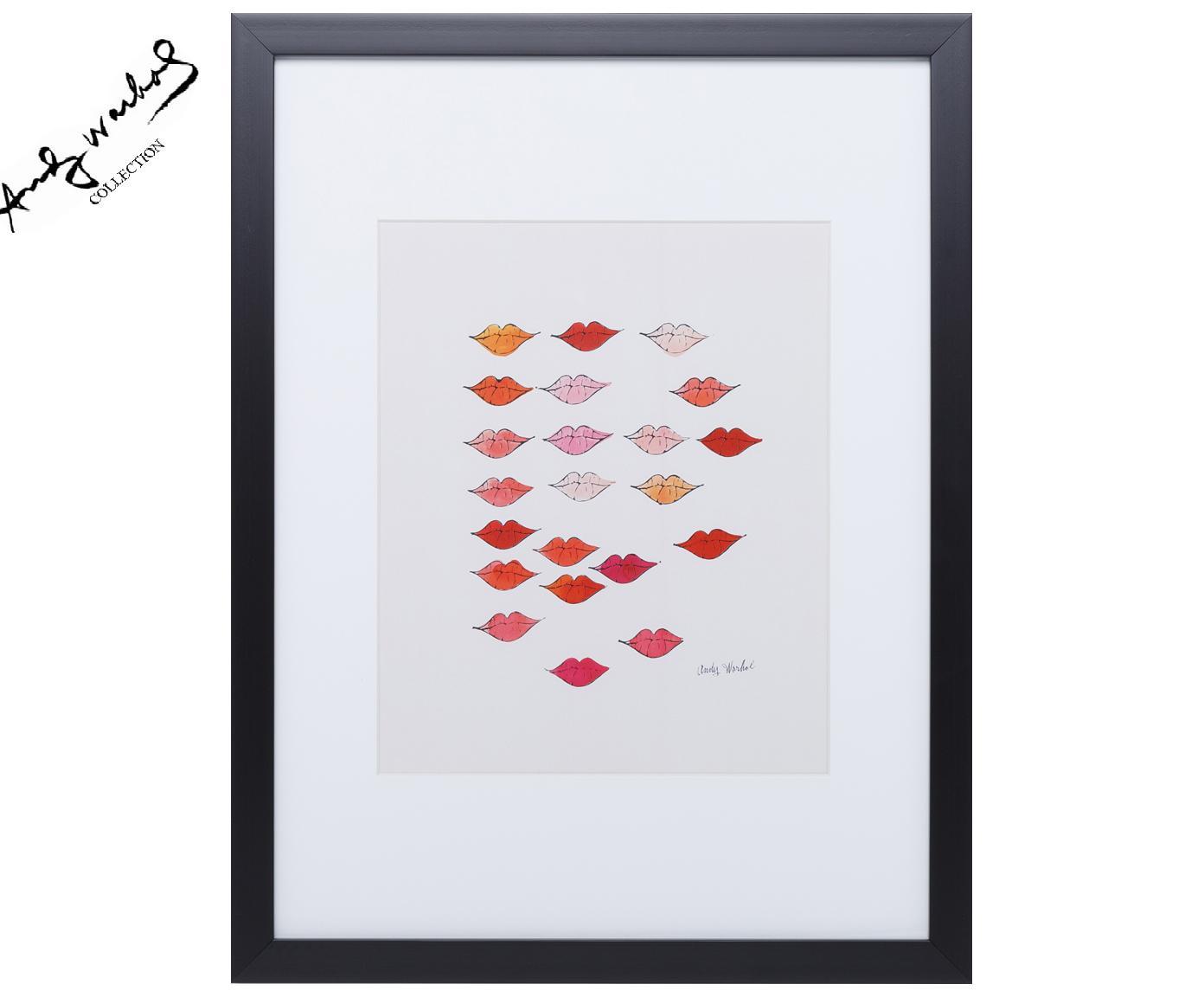 """Oprawiony druk cyfrowy Kiss """"Andy Warhol Collection"""", Stelaż: tworzywo sztuczne, Ilustracja: wielobarwny Stelaż: czarny, S 30 x W 40 cm"""