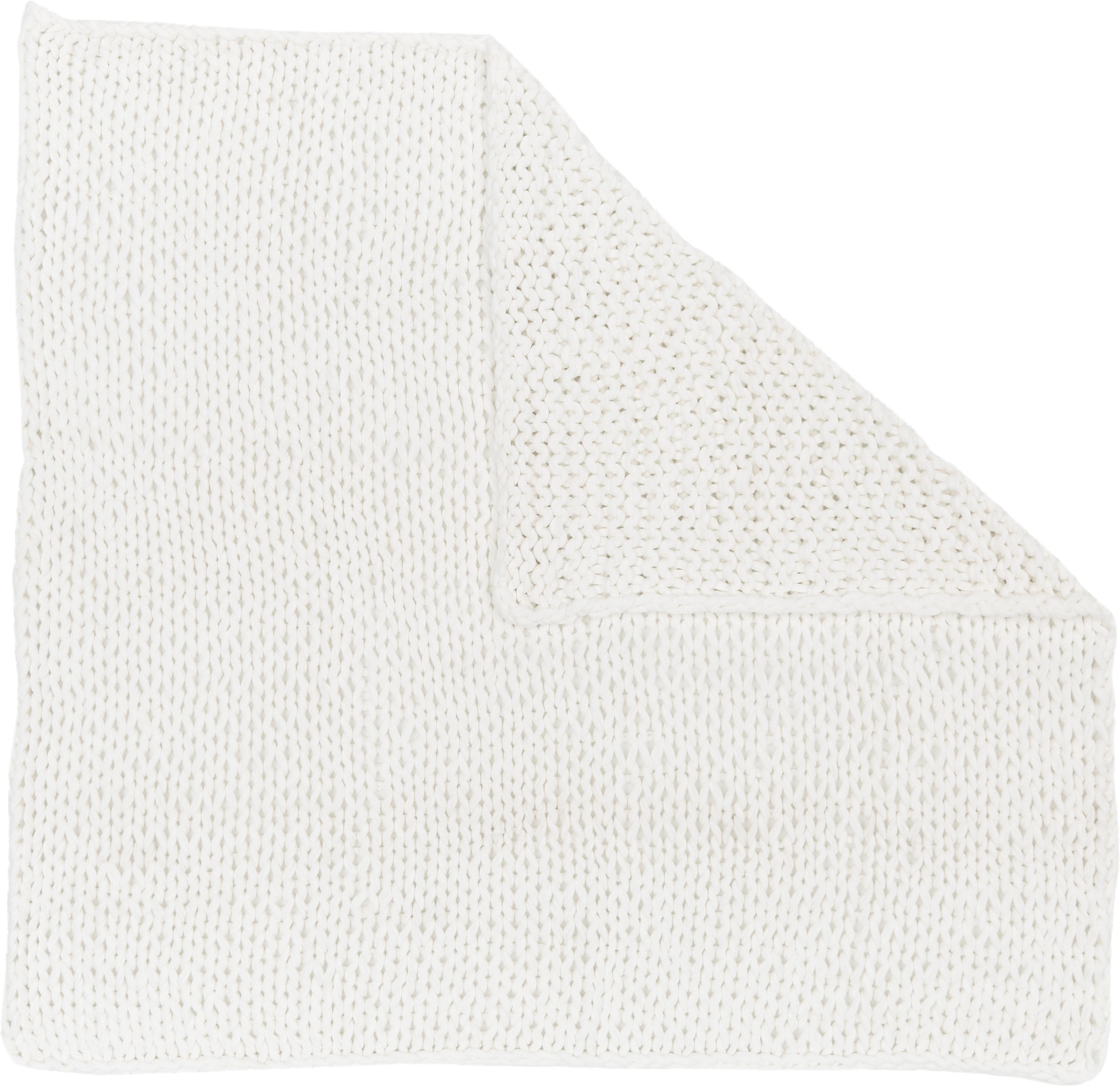 Grote gebreide plaid Adyna, 100% acryl, Wit, 150 x 200 cm