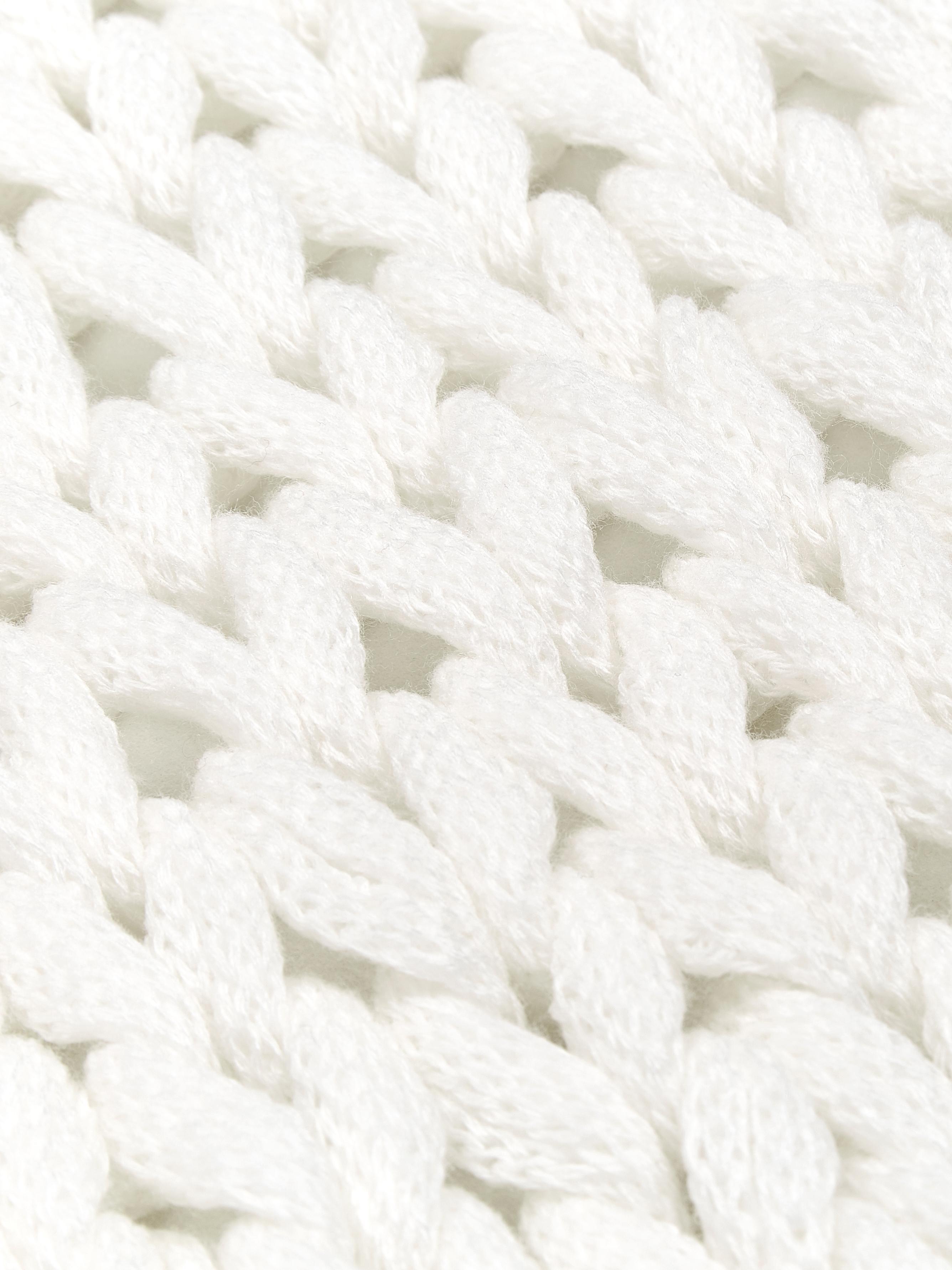 Manta de punto grueso Adyna, 100%acrílico, Blanco, 150 x 200 cm