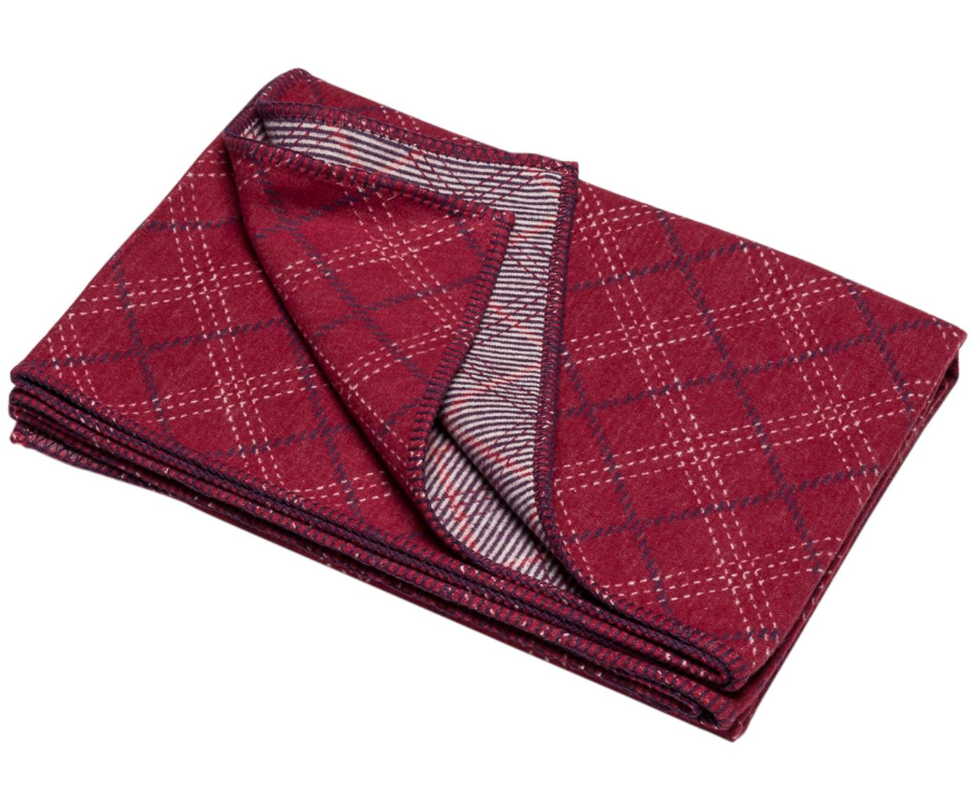Manta Karol, Tapizado: 85%algodón, 8%viscosa, , Rojo, blanco, gris oscuro, An 140 x L 200 cm
