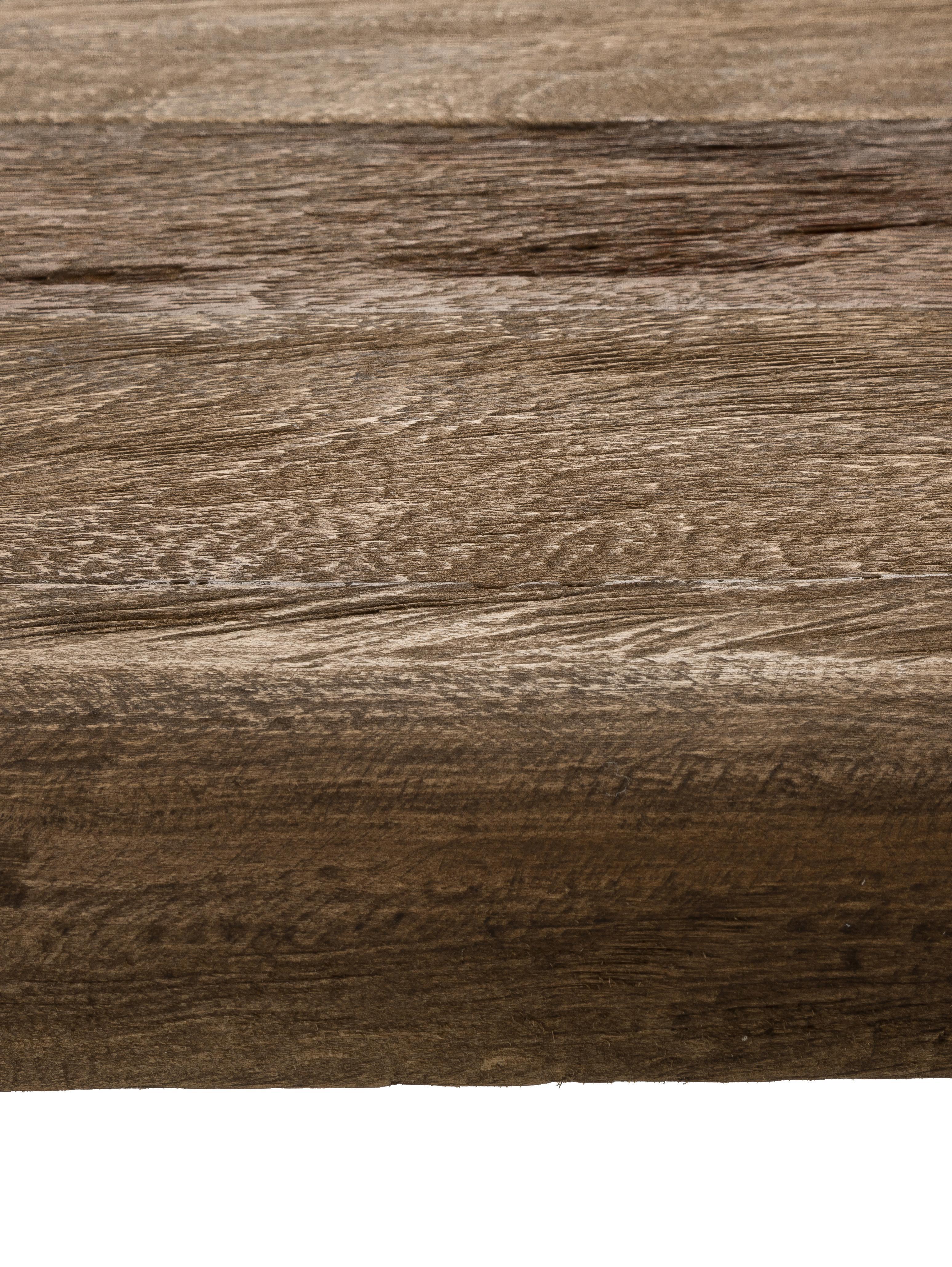 Konsole Iron im Industrial Design, Ablage: Teakholz, naturbelassen, Gestell: Metall, pulverbeschichtet, Teak, Schwarz, B 125 x T 40 cm