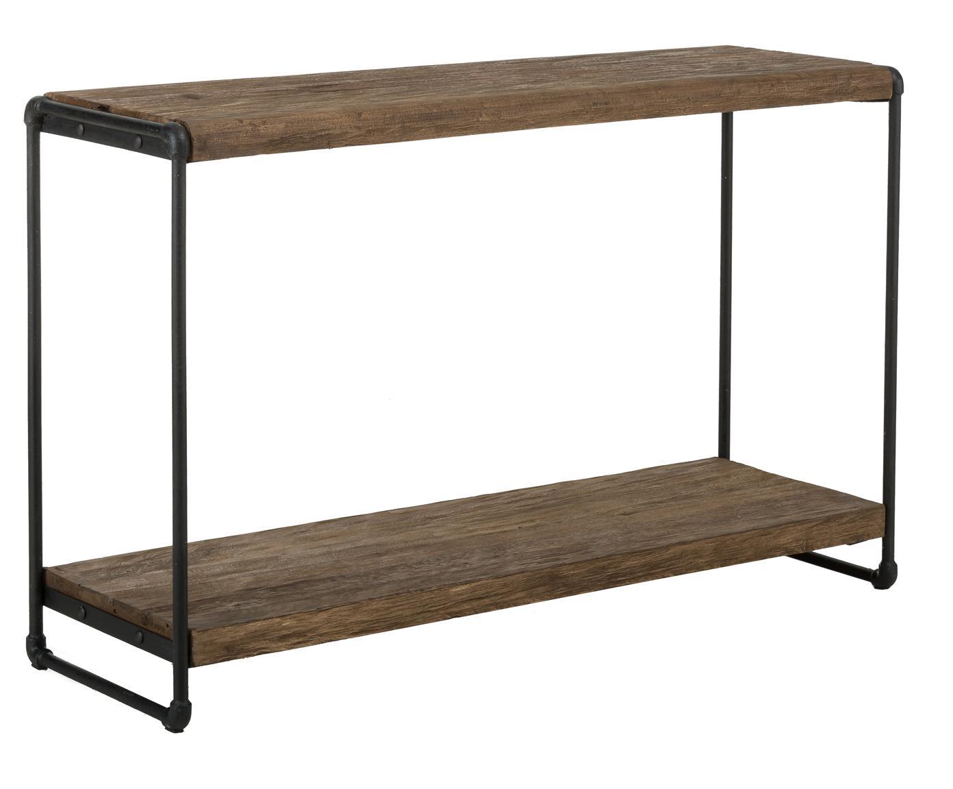 Sidetable Iron in industrieel ontwerp, Plank: natuurlijk teakhout, Frame: gepoedercoat metaal met b, Teakhoutkleurig, zwart, 125 x 80 cm