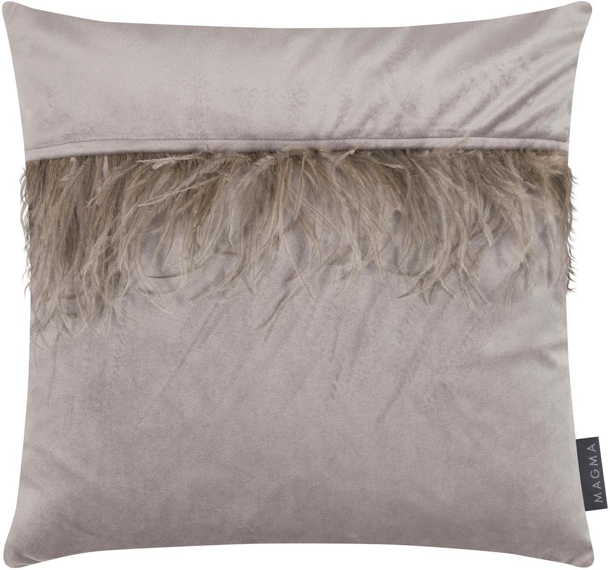 Federa arredo  in velluto con piume Ostrich, Frange: piume di struzzo, Grigio, Larg. 40 x Lung. 40 cm