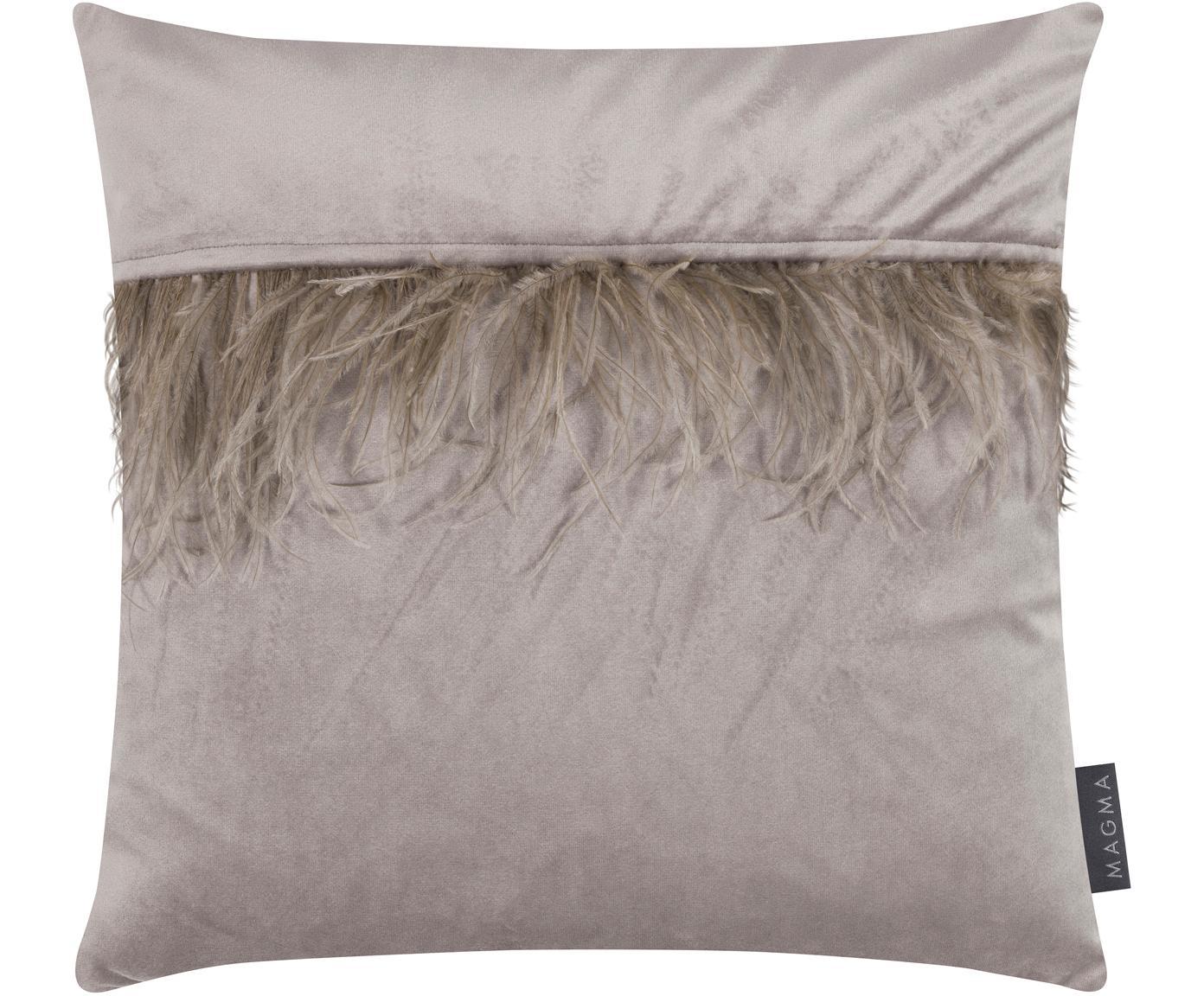 Samt-Kissenhülle Ostrich in Grau mit Federn, Fransen: Straußenfedern, Grau, 40 x 40 cm