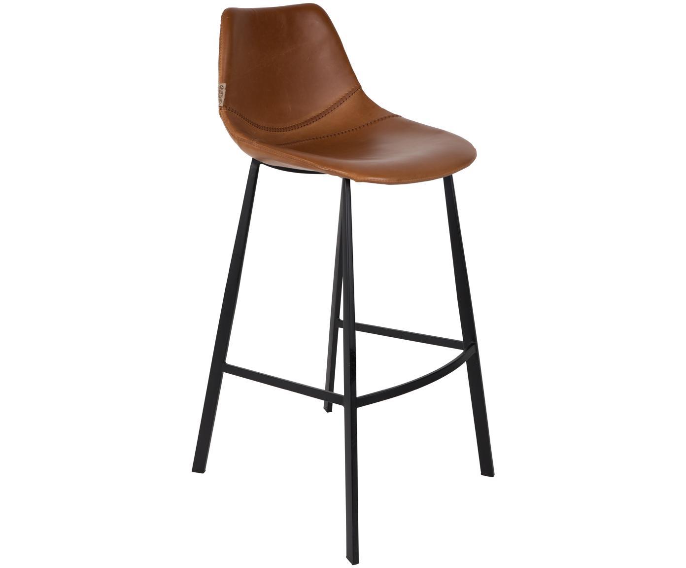 Taburete de bar de piel sintética Franky, Tapizado: cuero sintético (poliuret, Patas: acero, pintura en polvo, Marrón, negro, An 50 x Al 106 cm