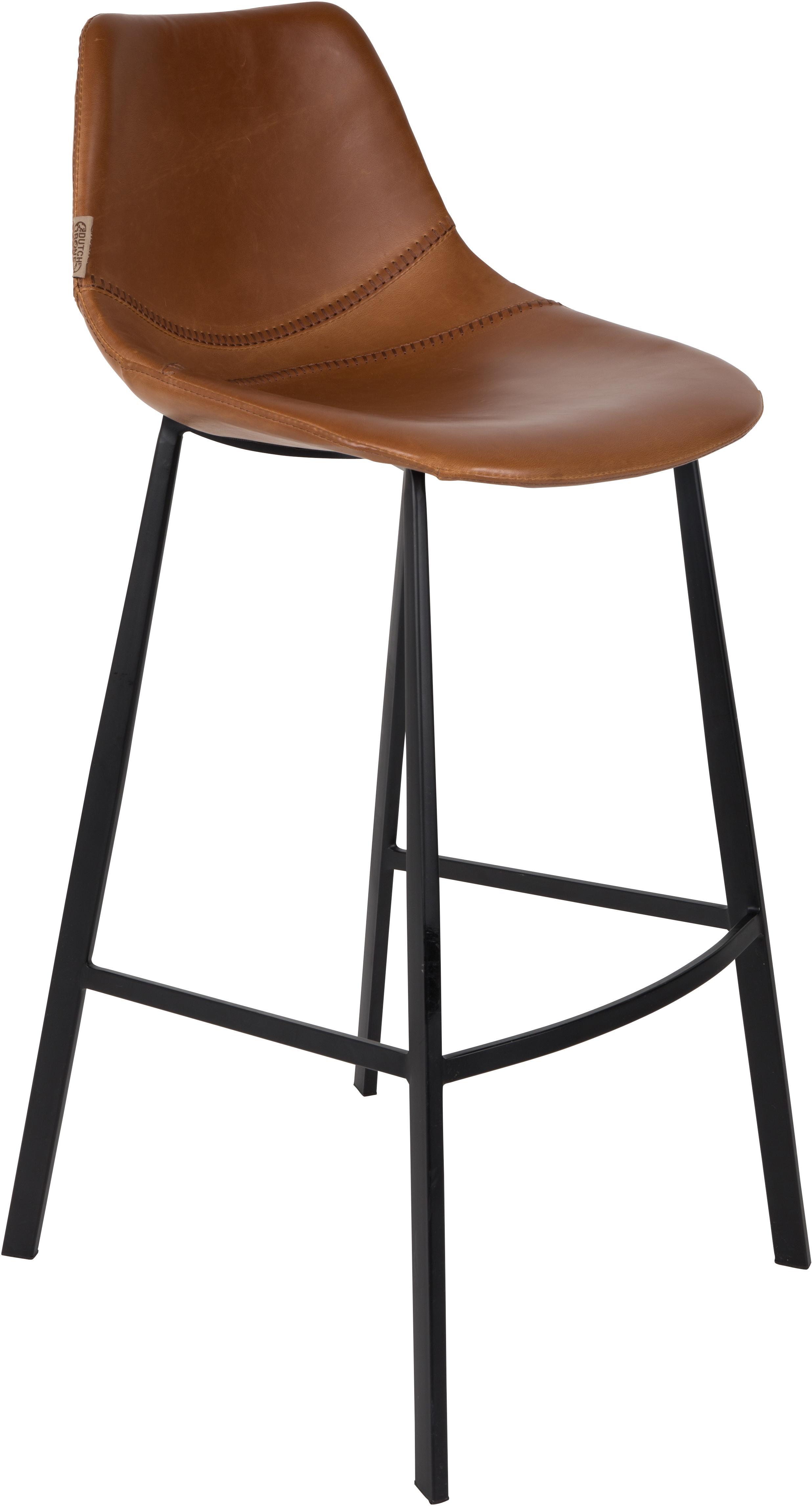 Krzesło barowe ze sztucznej skóry  Franky, Tapicerka: sztuczna skóra (poliureta, Nogi: stal malowana proszkowo, Nogi: czarny Tapicerka: brązowy, 50 x 106 cm