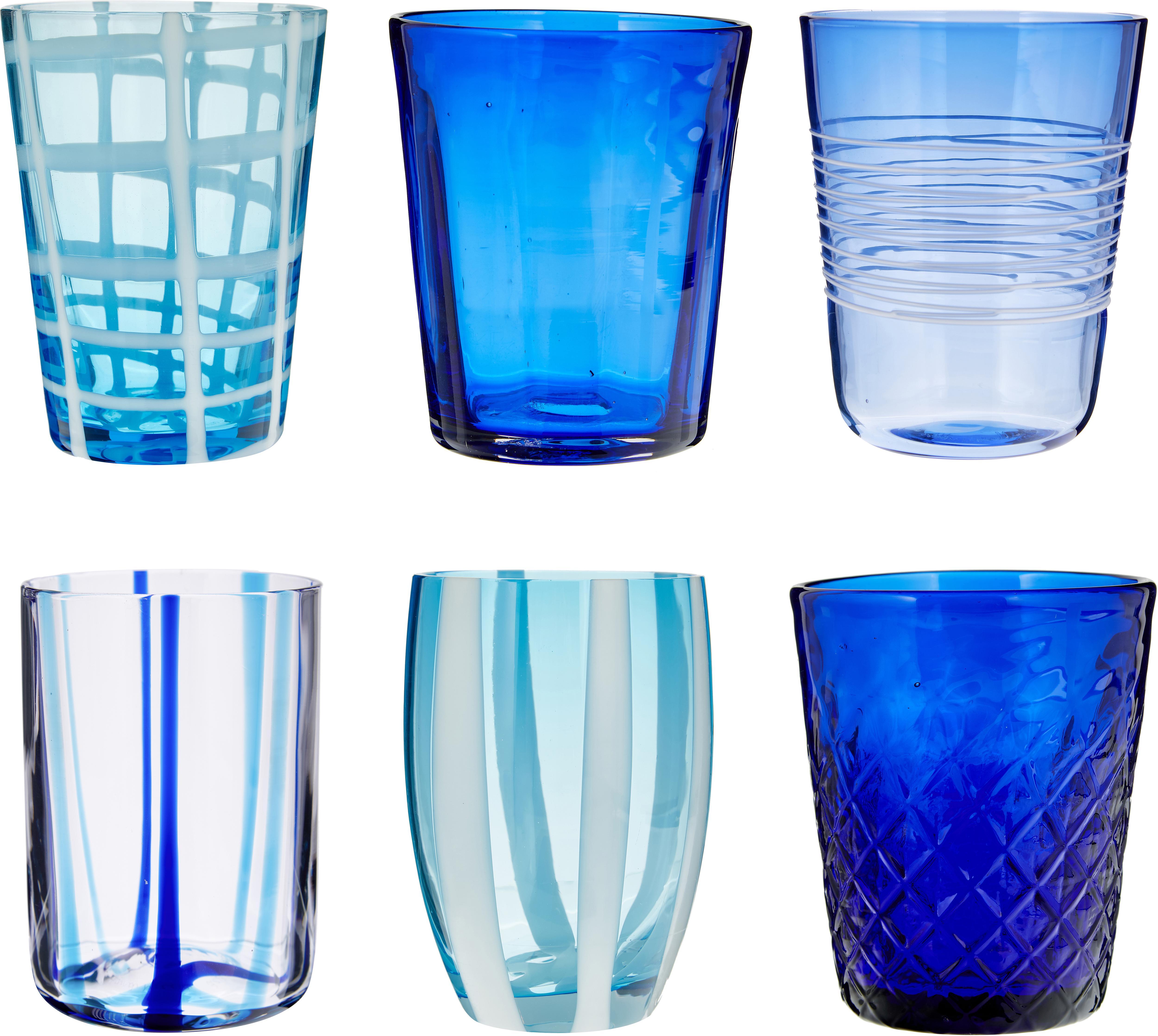 Mundgeblasene Wassergläser Melting Pot Sea in Blautönen, 6er-Set, Glas, Blautöne, Transparent, Verschiedene Grössen