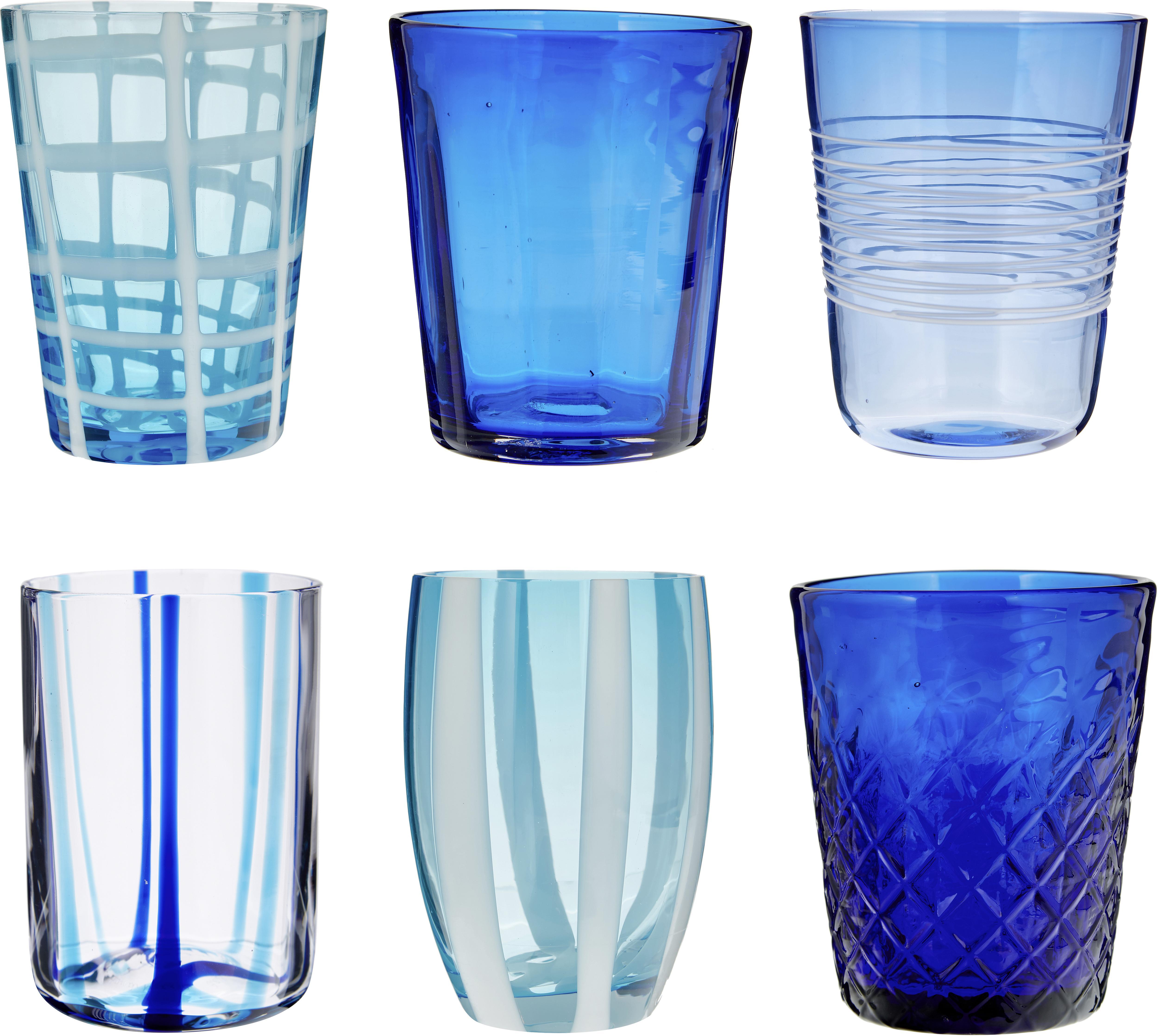 Mundgeblasene Wassergläser Melting Pot Sea in Blautönen, 6er-Set, Glas, Blautöne, Transparent, Set mit verschiedenen Größen