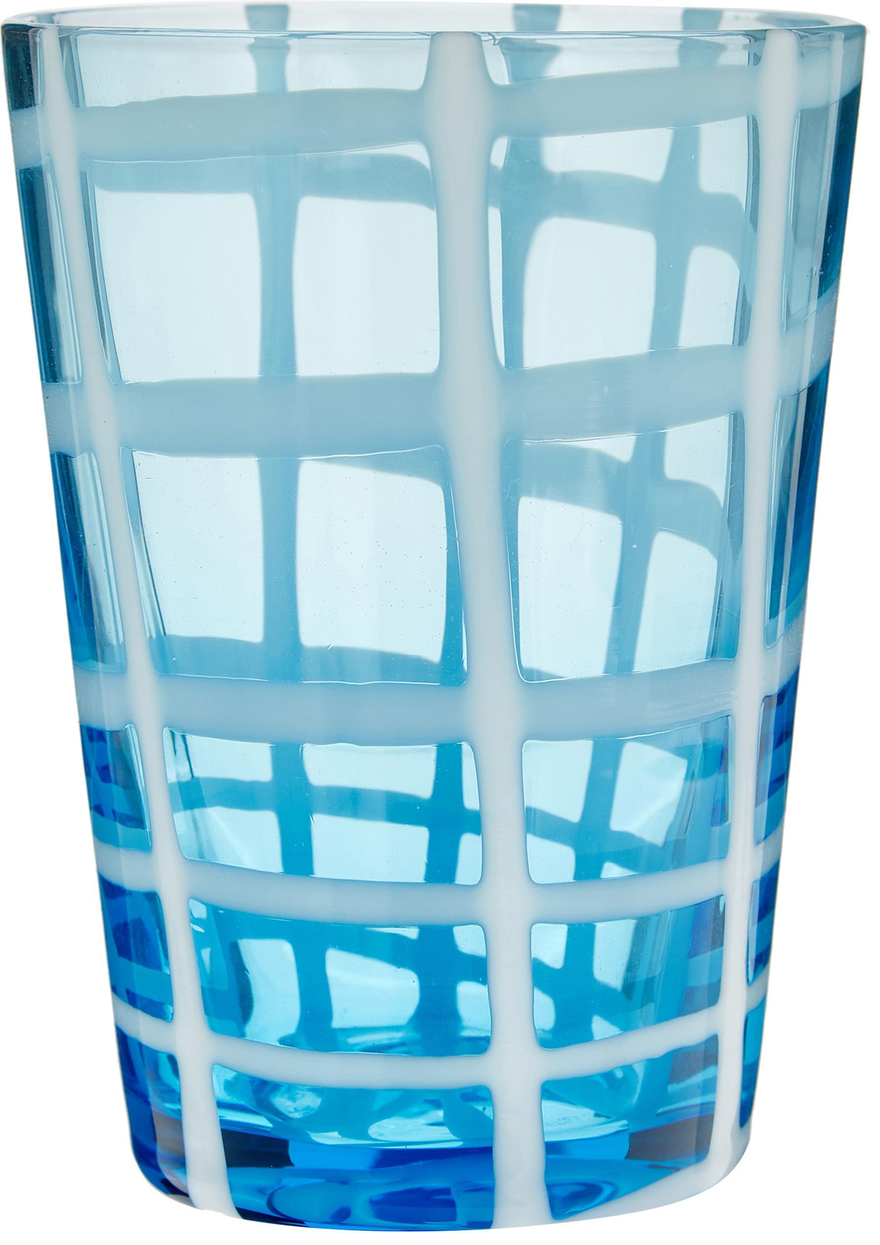 Verre à eau soufflé bouche Melting Pot Sea, 6élém., Tons bleus, transparent
