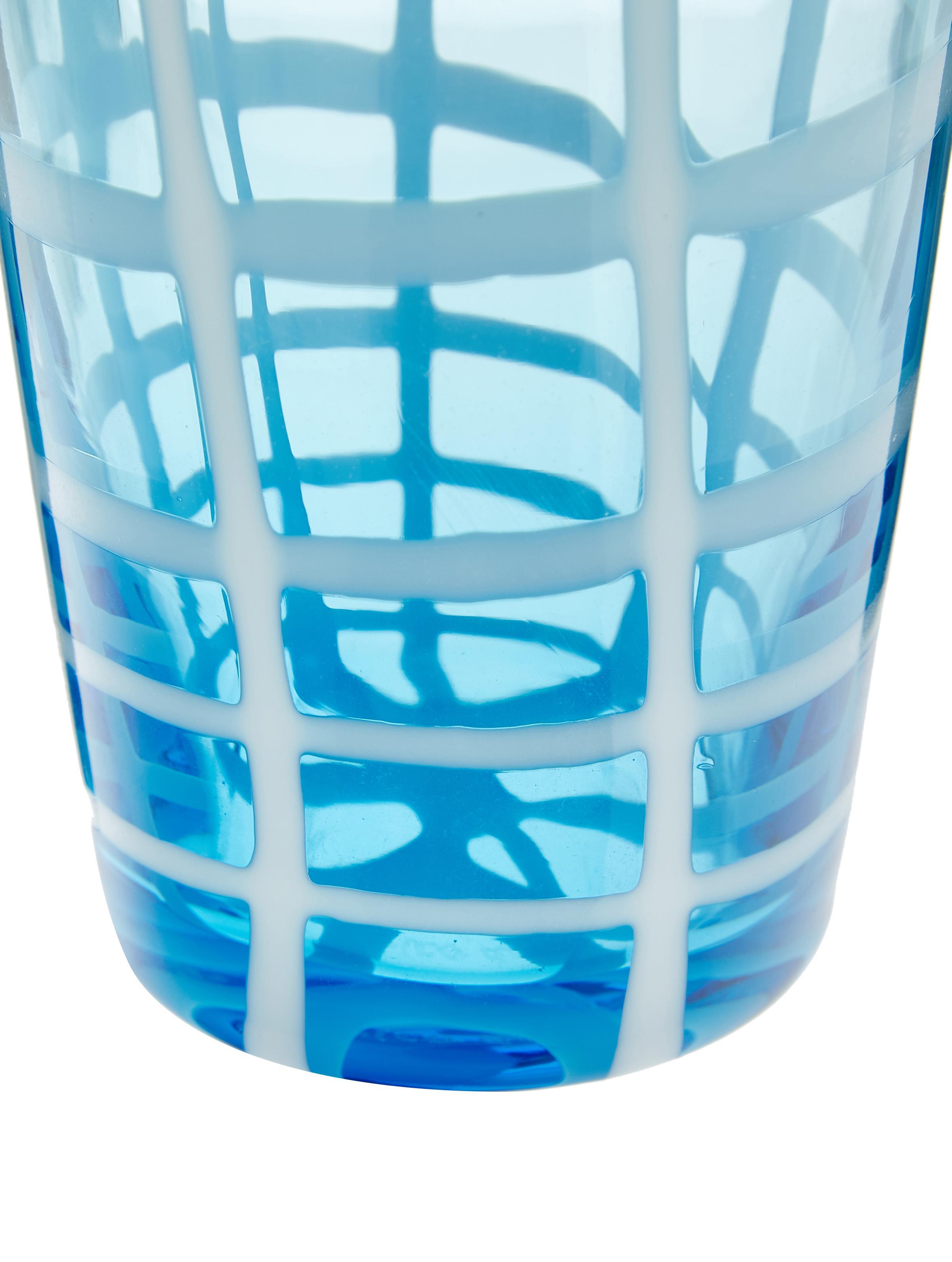Bicchiere acqua in vetro Melting Pot Sea, set di 6, Vetro, Tonalità blu, trasparente, Diverse dimensioni