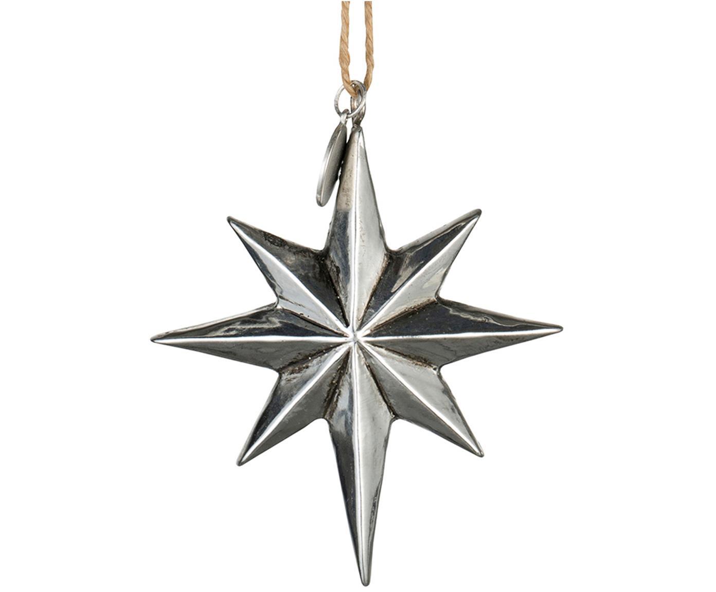 Kerstboomhangers Serafina Star, 2 stuks, Zilverkleurig, 7 x 8 cm