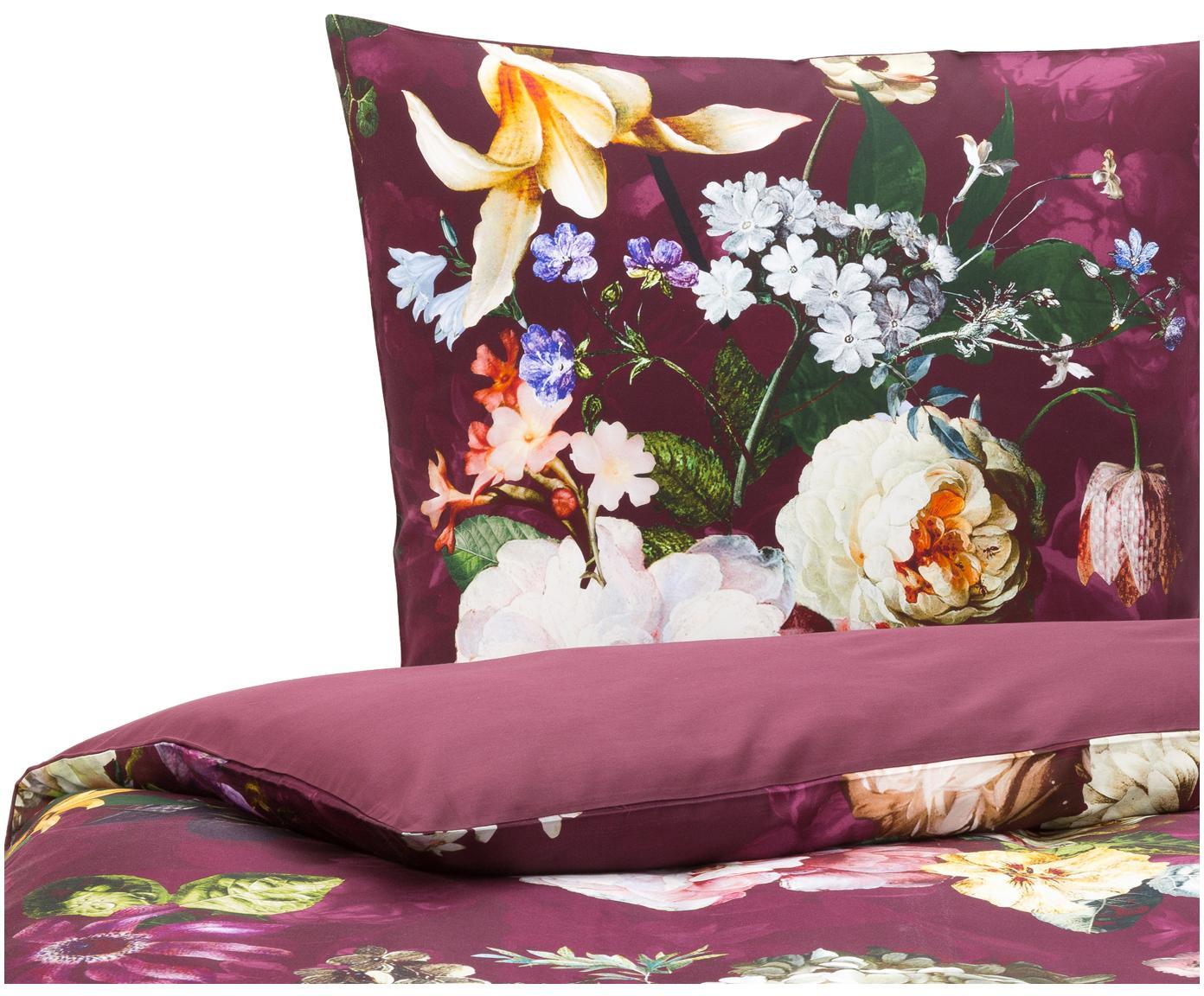Katoenen dekbedovertrek Fleur, Bordeauxrood, 140 x 220 cm