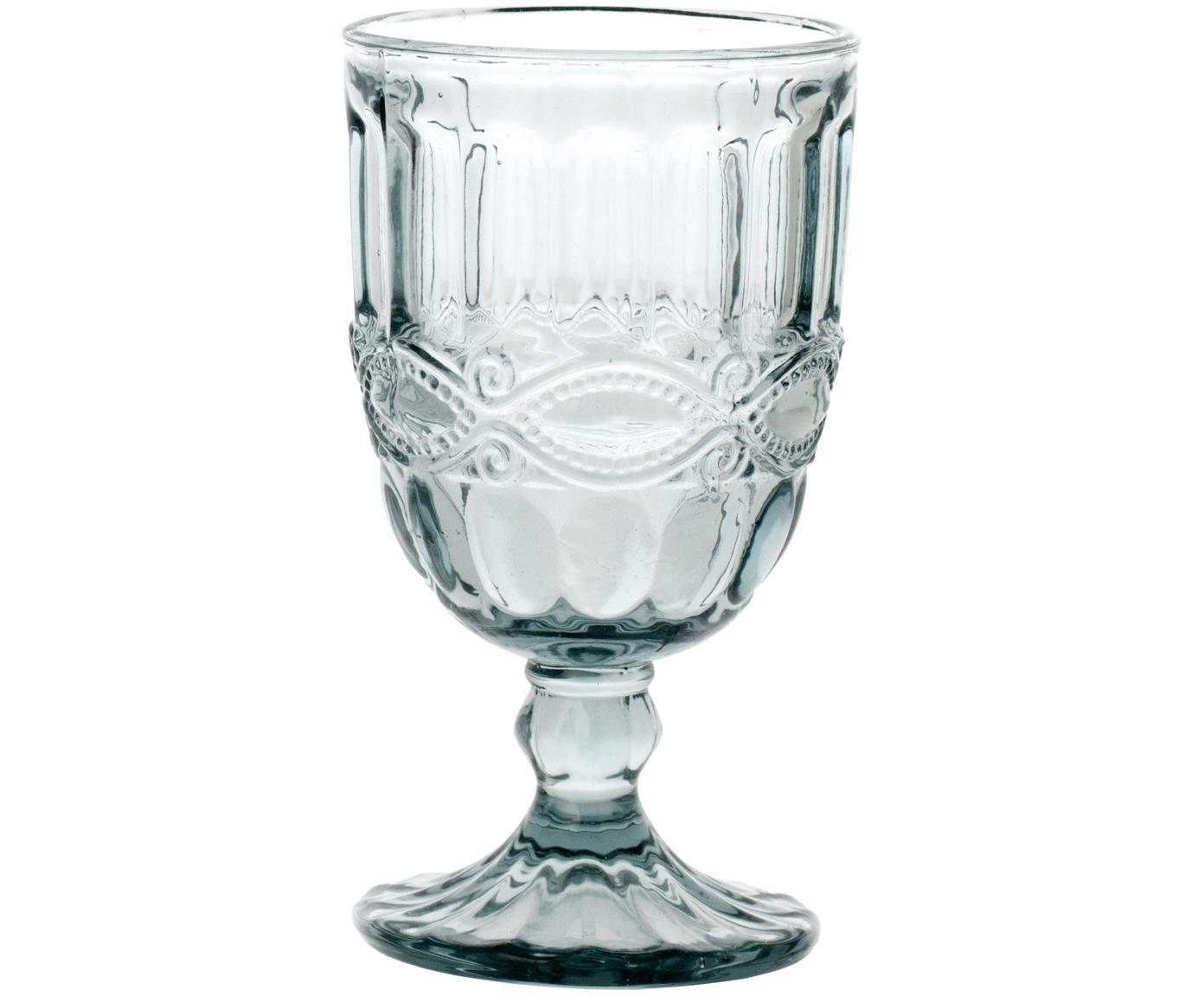 Bicchiere da vino con rilievo Solange 6 pz, Vetro, Trasparente, 350 ml