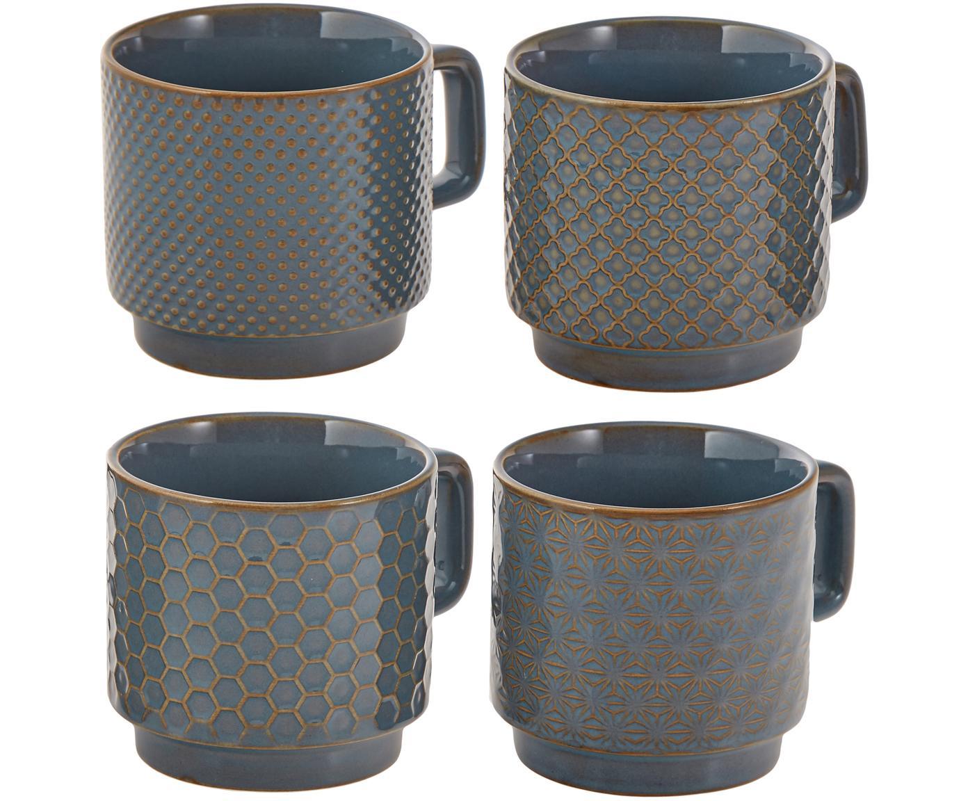 Tazas Lara, 4uds., Gres, Gris azulado, marrón, Ø 8 x Al 8 cm