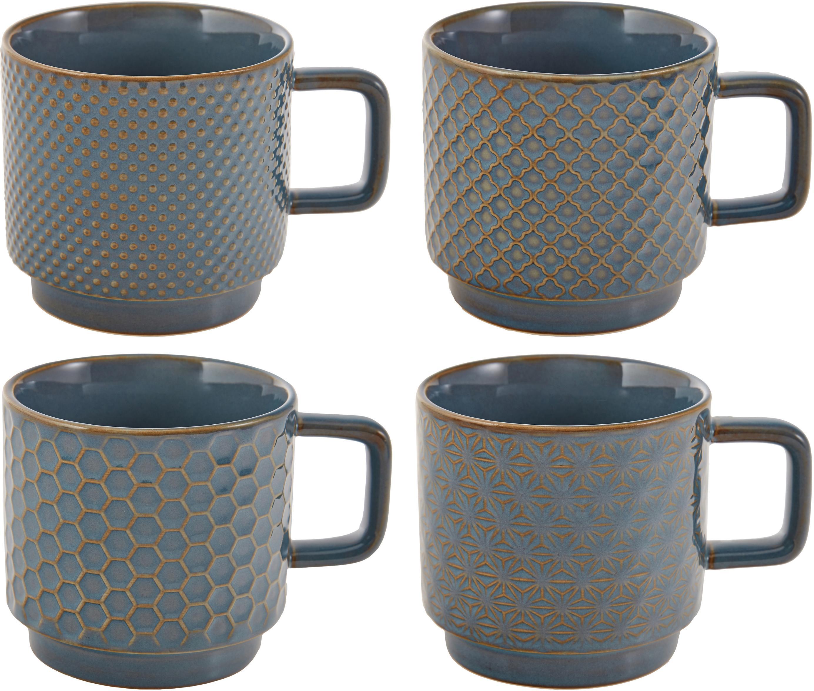 Komplet kubków Lara, 4 elem, Kamionka, Niebieskoszary, brązowy, Ø 8 x W 8 cm